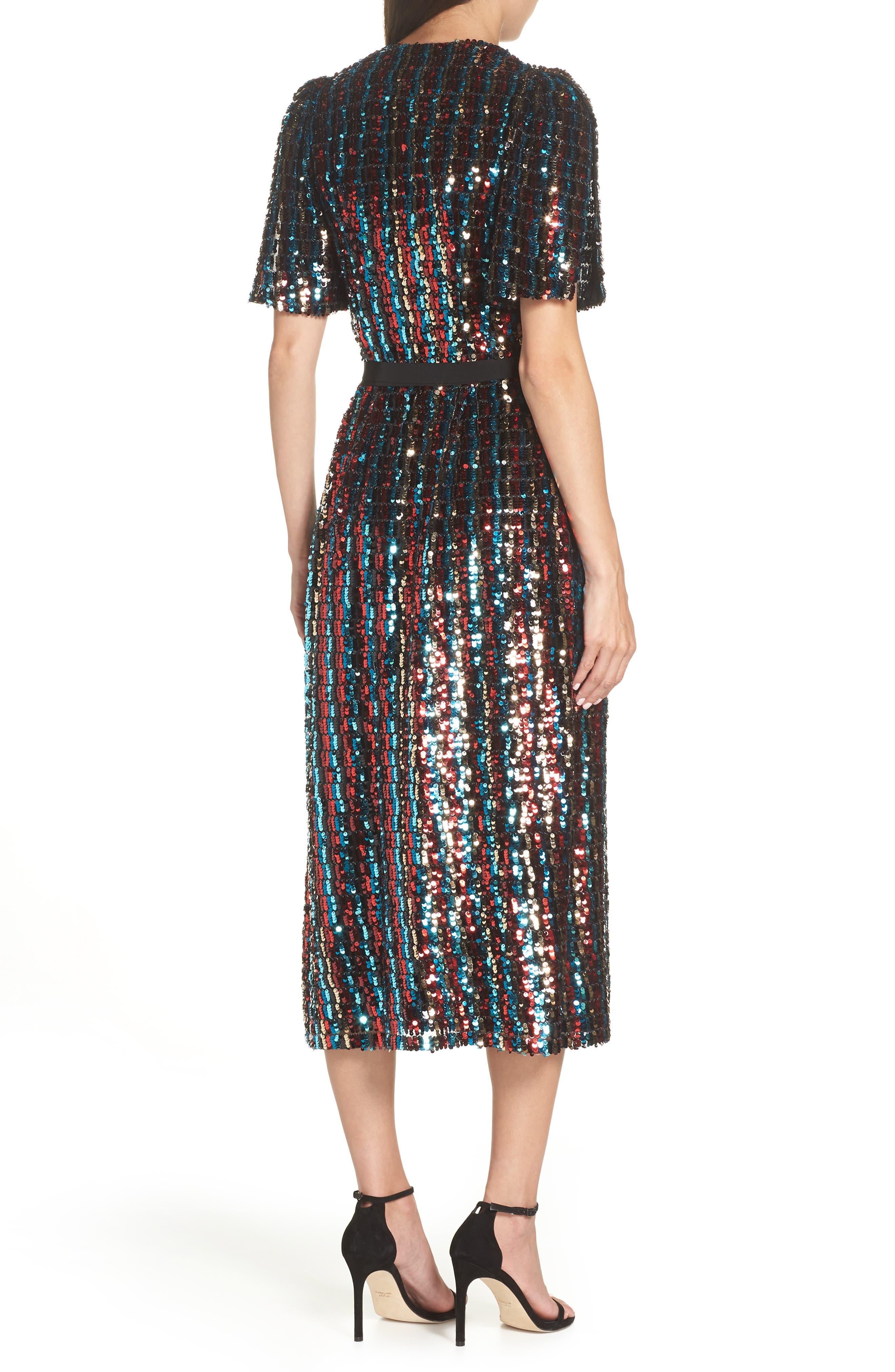 Multicolor Sequin Wrap Dress,                             Alternate thumbnail 2, color,                             MERLOT GOLD