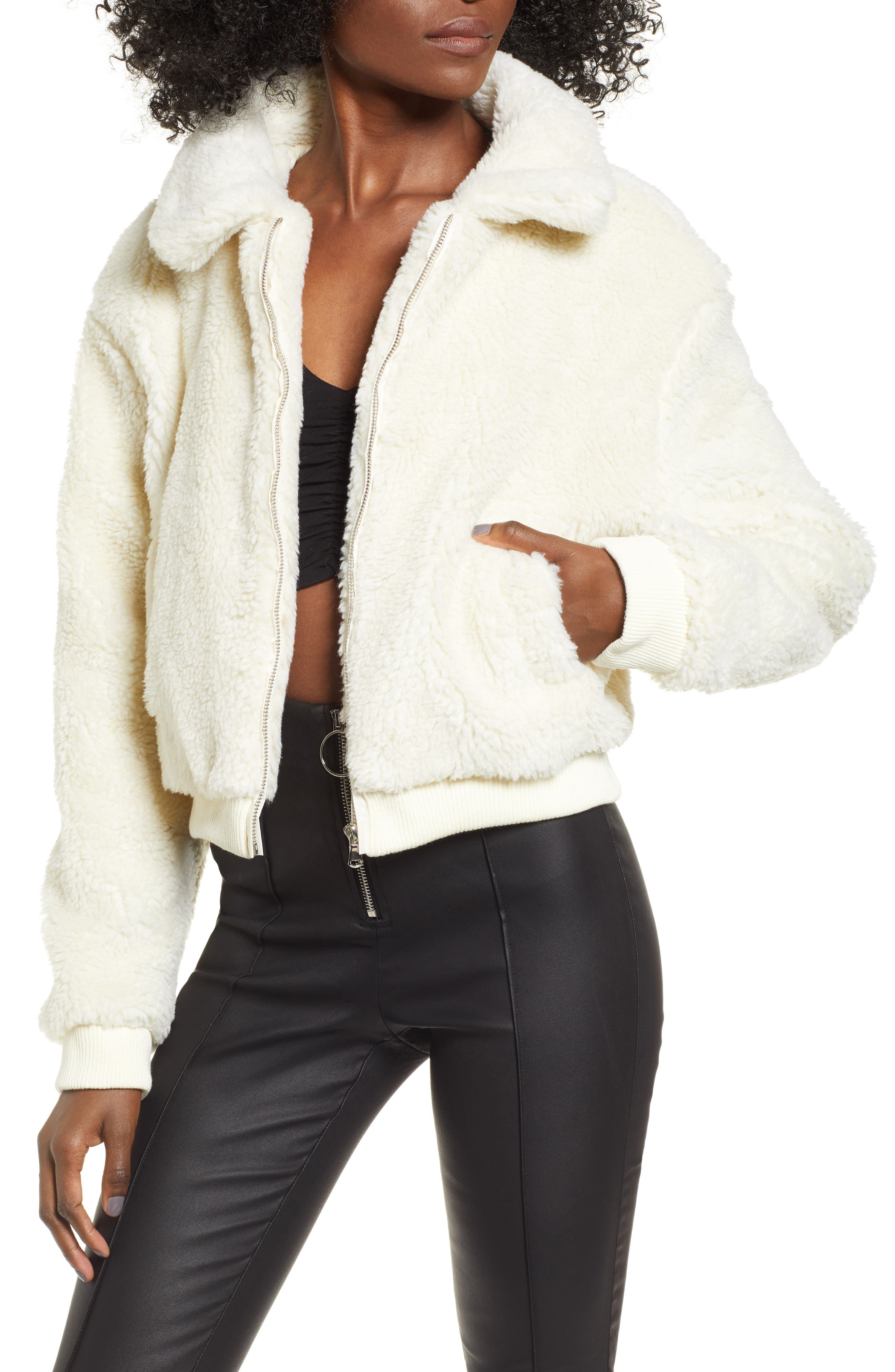 Teddy Jacket, Main, color, WHITE