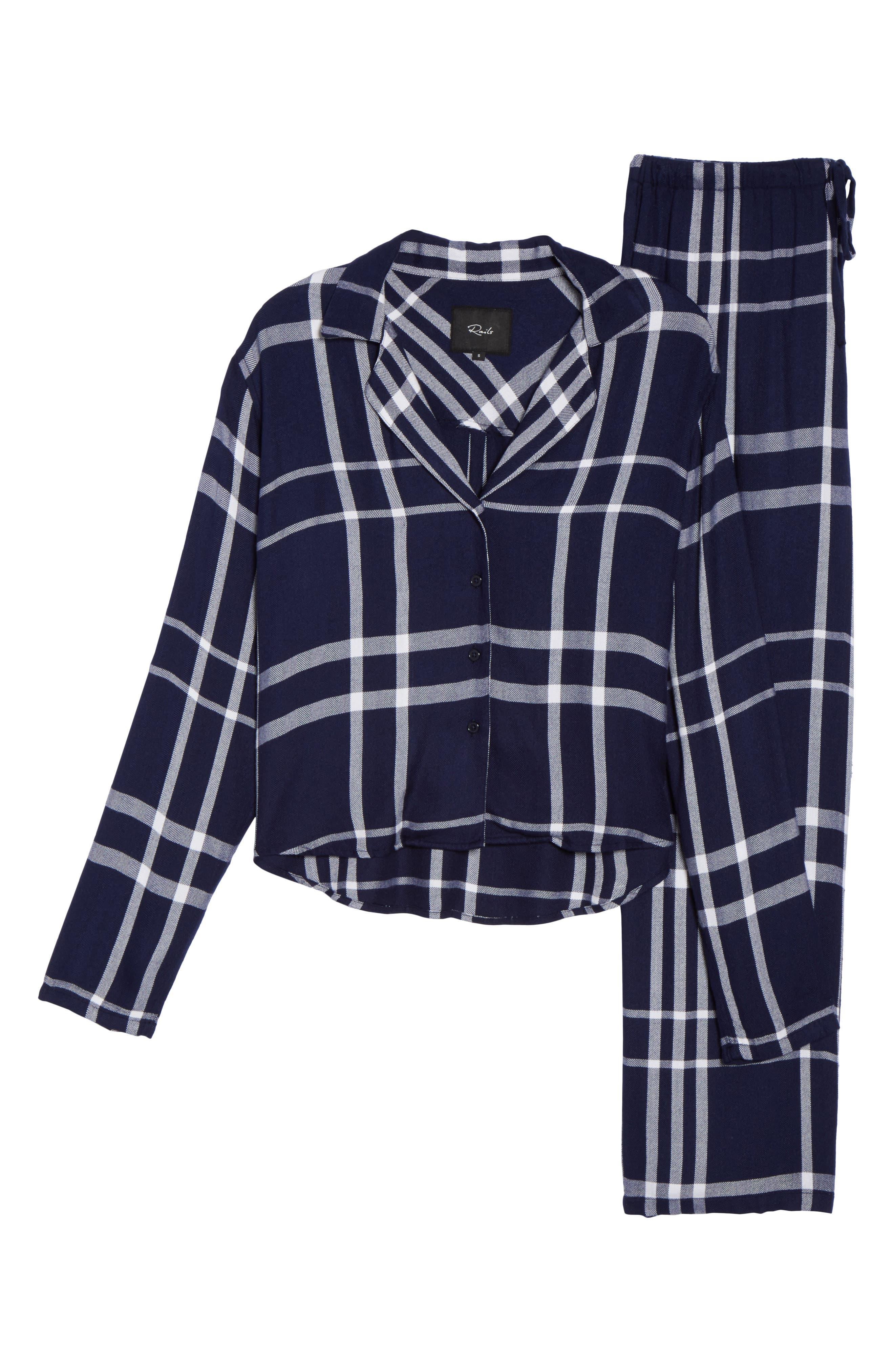Plaid Pajamas,                             Alternate thumbnail 6, color,                             CADET/ WHITE