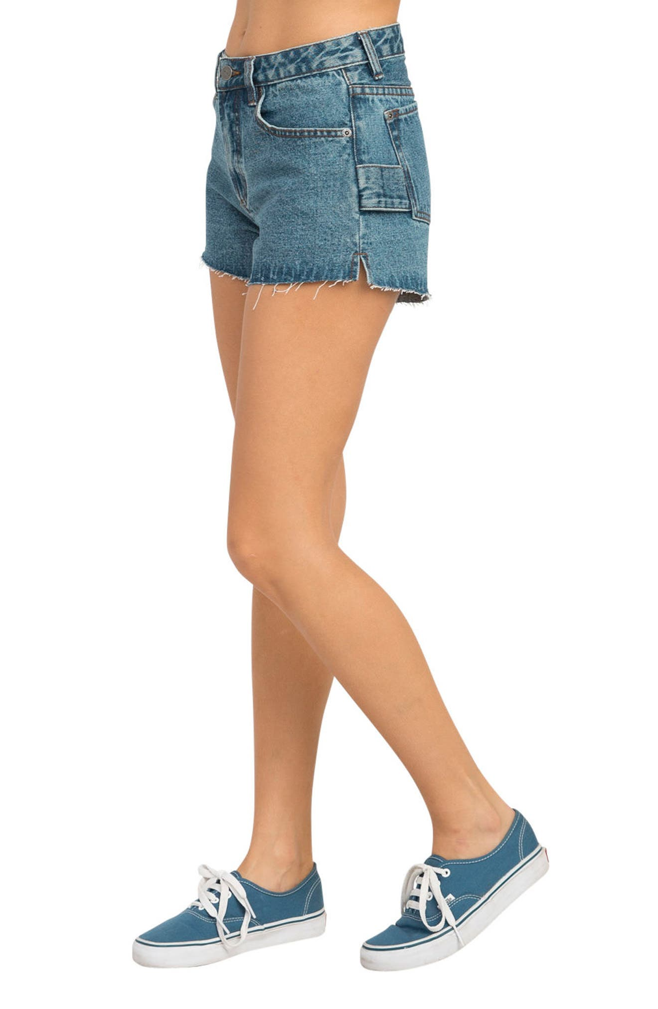 Highly Werked Raw Hem Denim Shorts,                             Alternate thumbnail 3, color,