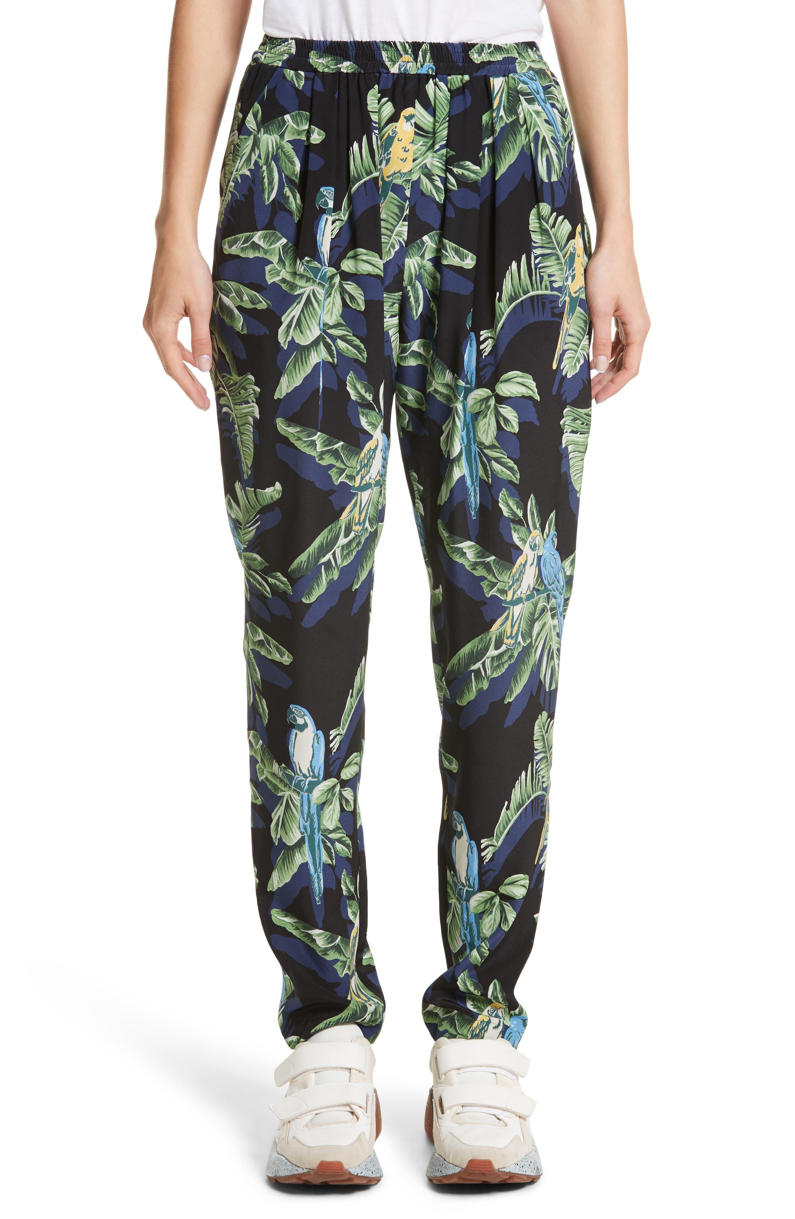 Birds of Paradise Silk Crêpe de Chine Pants,                             Main thumbnail 1, color,                             001