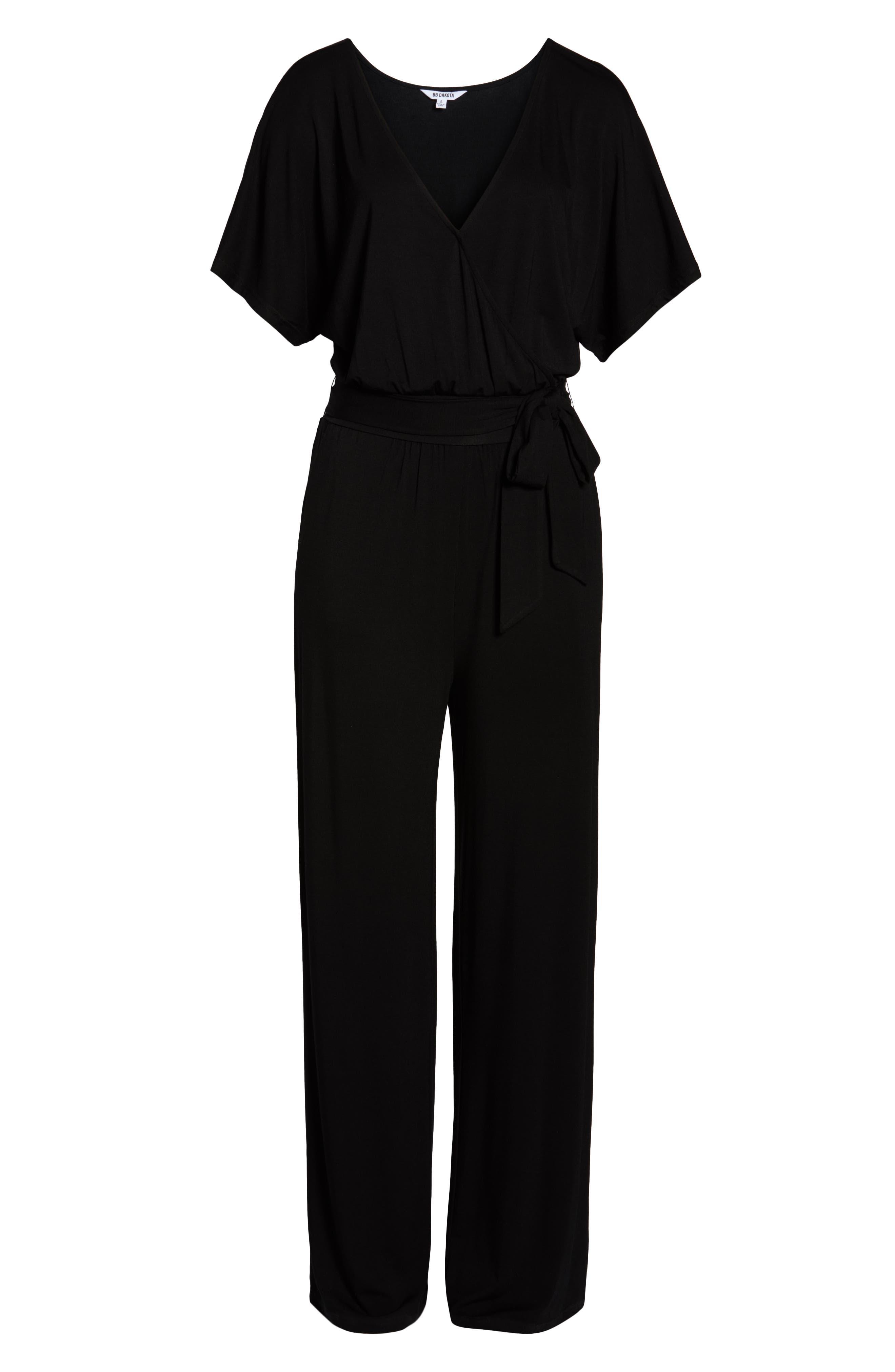 BB DAKOTA,                             Knit Wrap Jumpsuit,                             Alternate thumbnail 7, color,                             BLACK