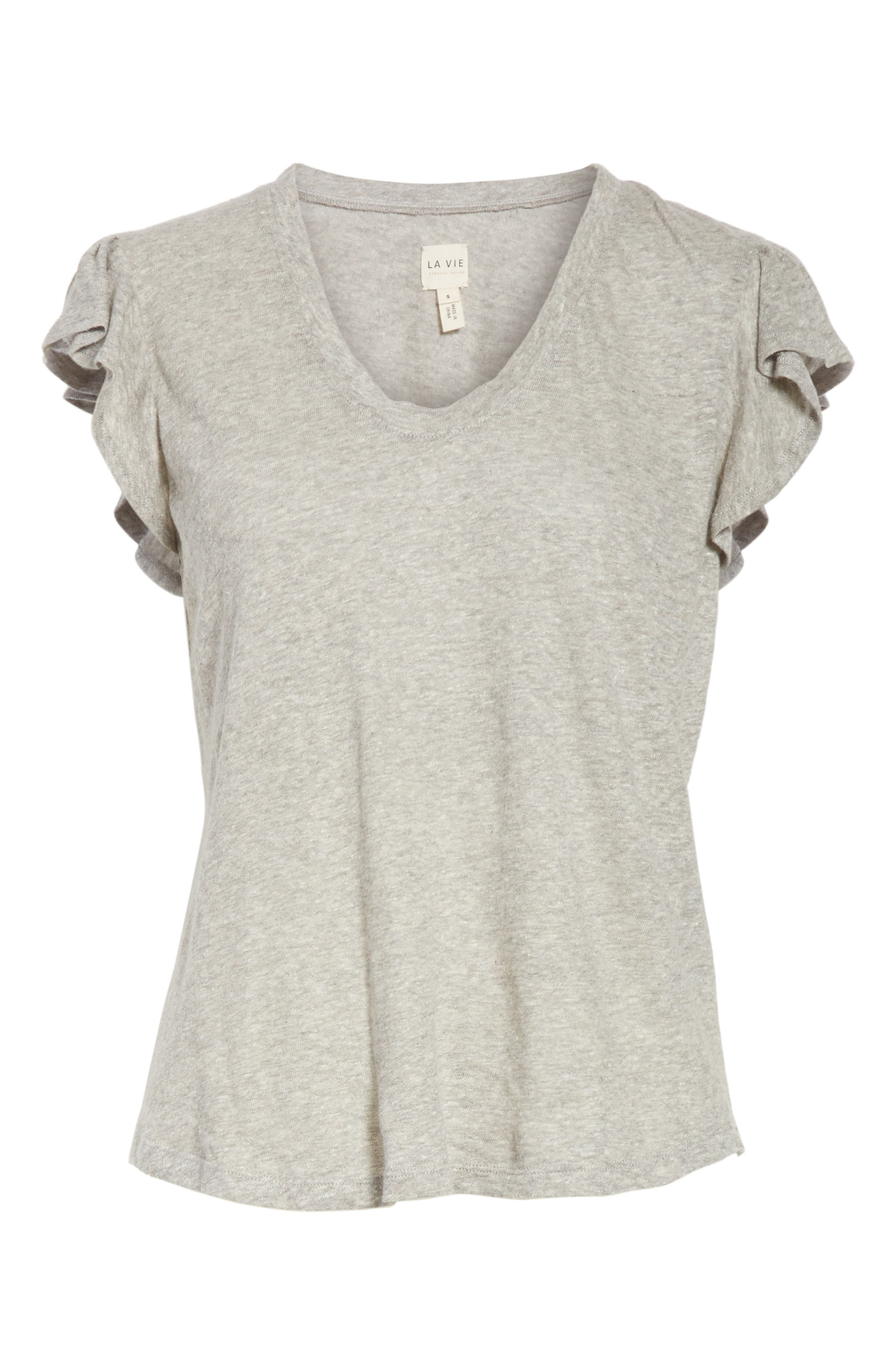 Washed Texture Jersey Tee,                             Alternate thumbnail 6, color,                             GREY HEATHER