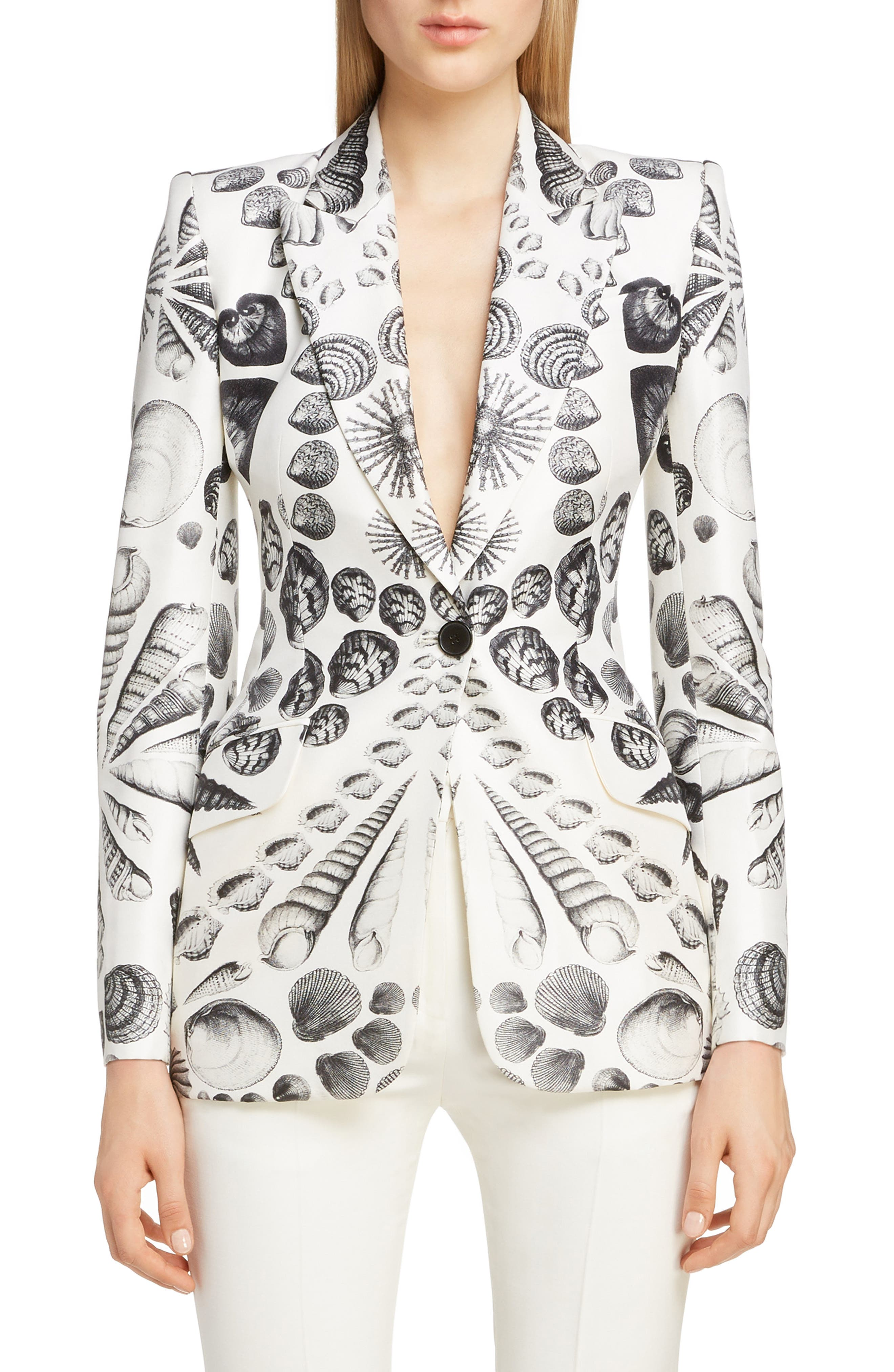 Shell Print Wool & Silk Blazer, Main, color, IVORY BLACK