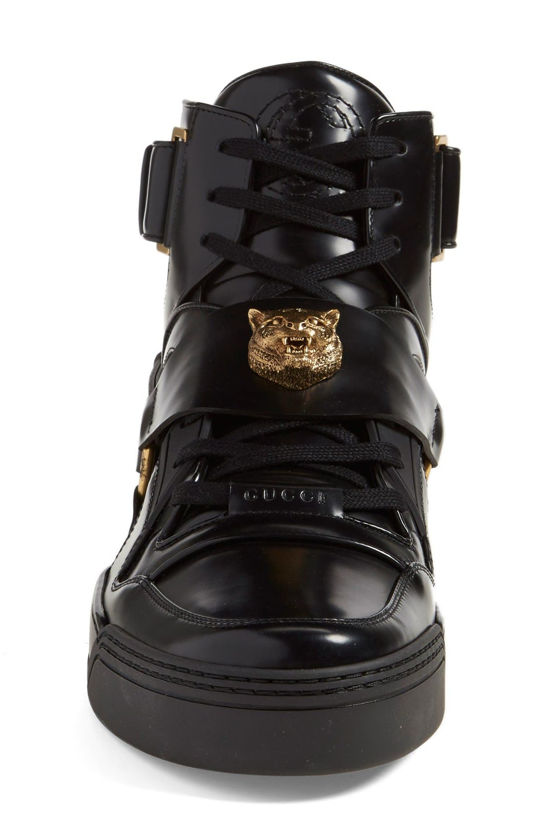 GUCCI,                             'Tiger' High Top Sneaker,                             Alternate thumbnail 3, color,                             001