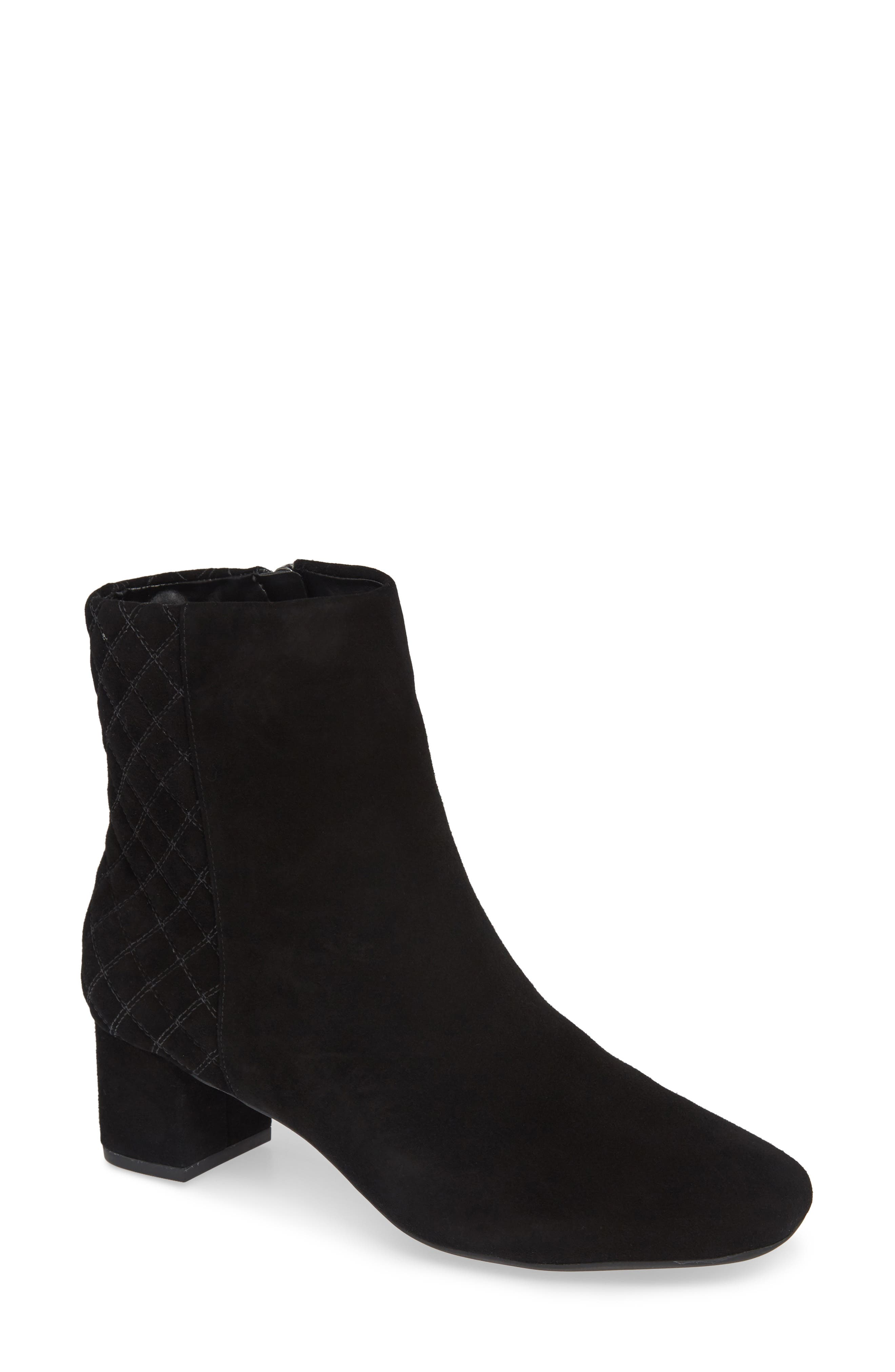 Tealia Luck Bootie,                             Main thumbnail 1, color,                             BLACK SUEDE
