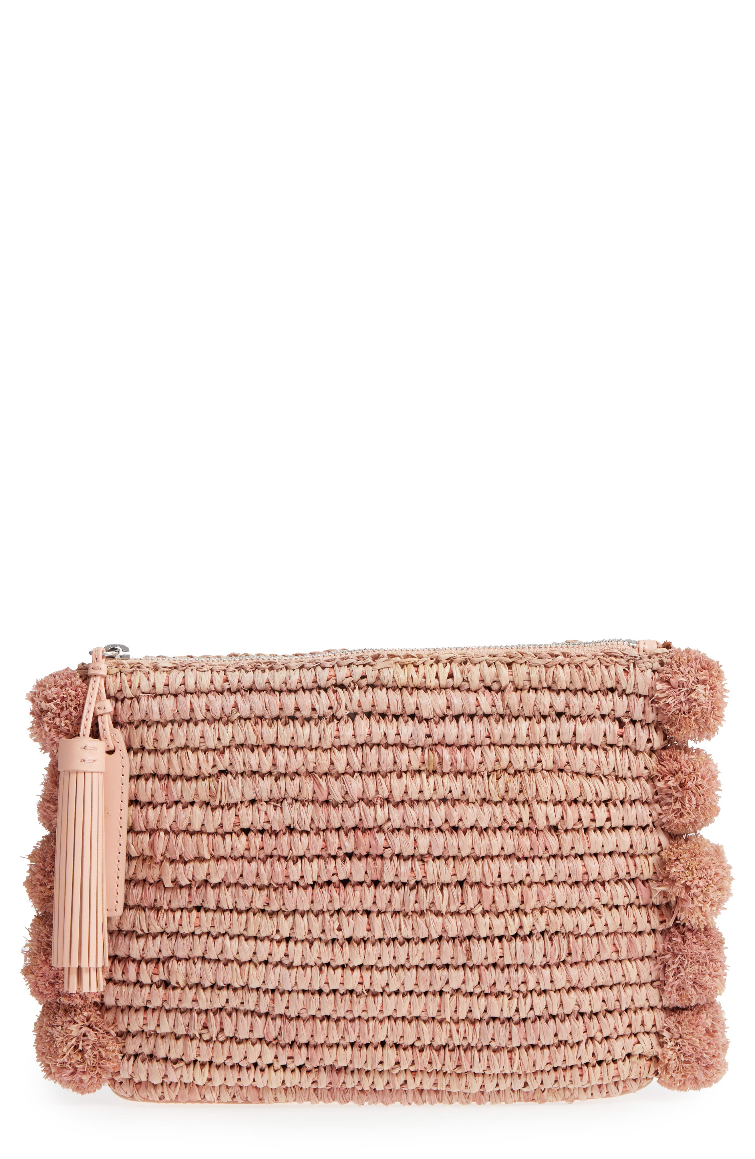 Straw Tassel Pouch,                             Main thumbnail 3, color,