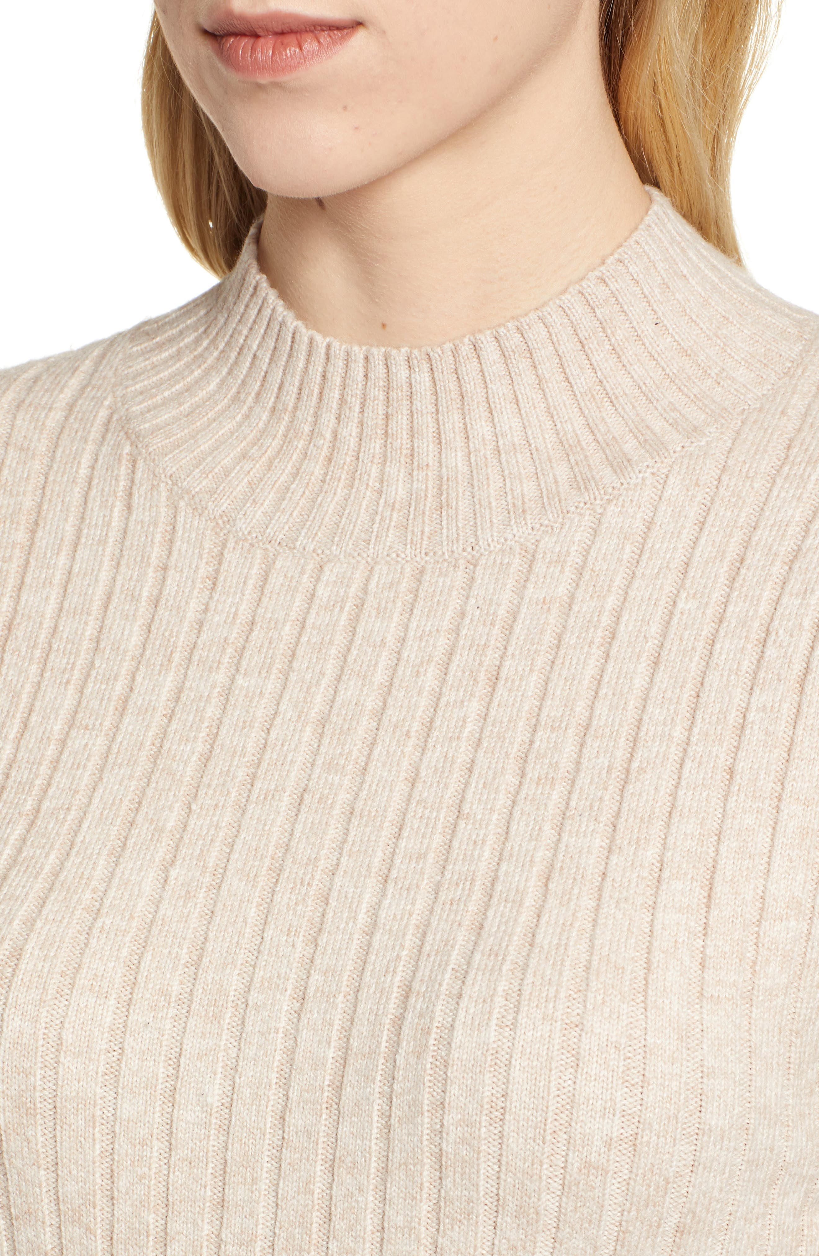 Mixed Rib Sweater,                             Alternate thumbnail 4, color,                             WARM OATMEAL HEATHER