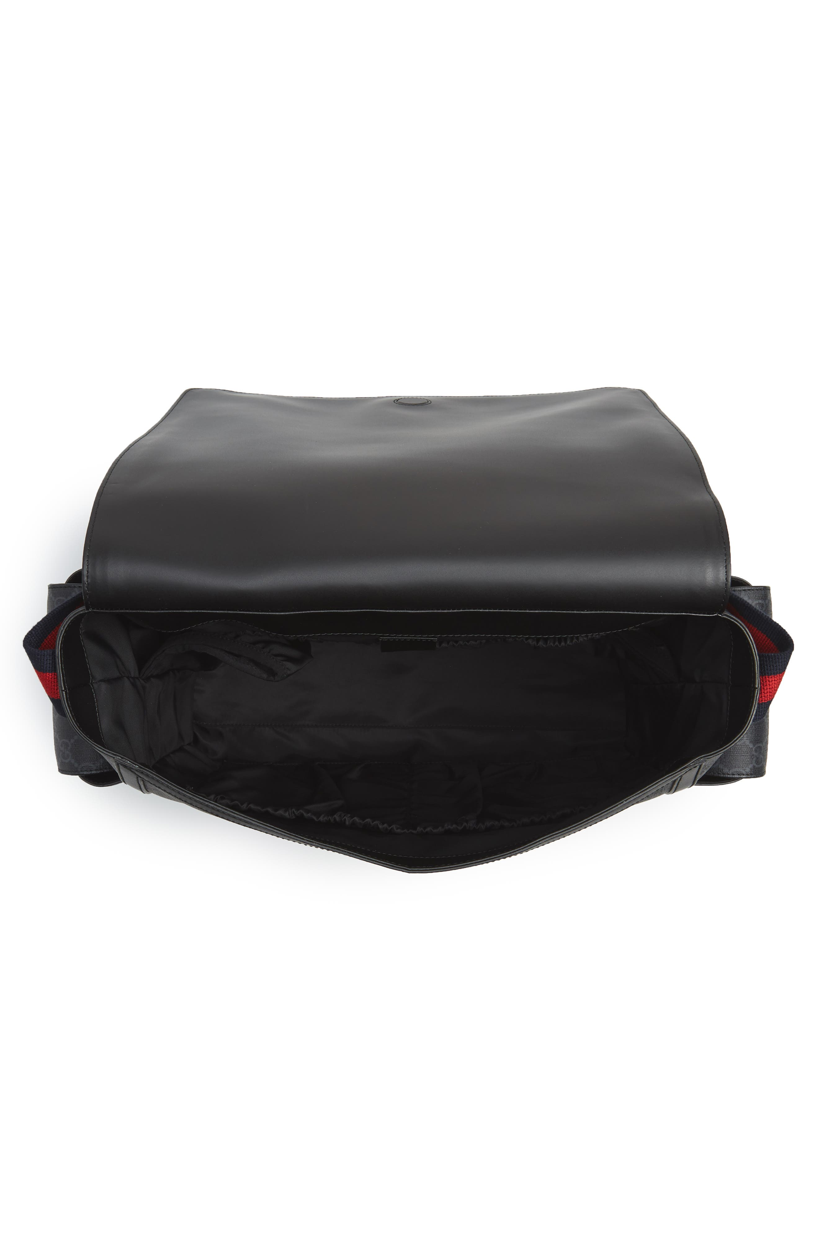 GG Supreme Canvas Diaper Bag,                             Alternate thumbnail 4, color,                             BLACK