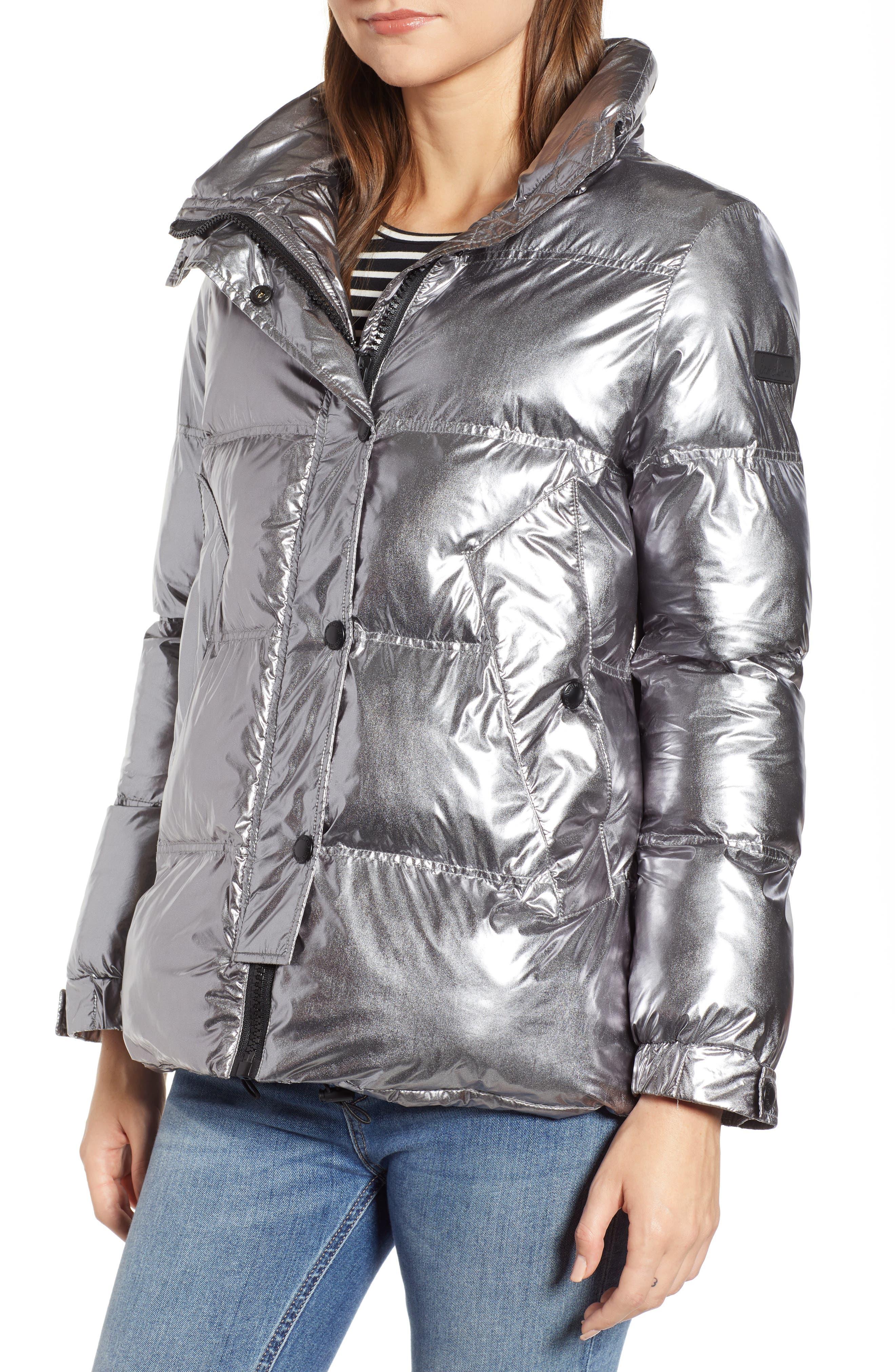 Faux Fur Trim Hooded Puffer Coat,                             Alternate thumbnail 4, color,                             GUNMETAL