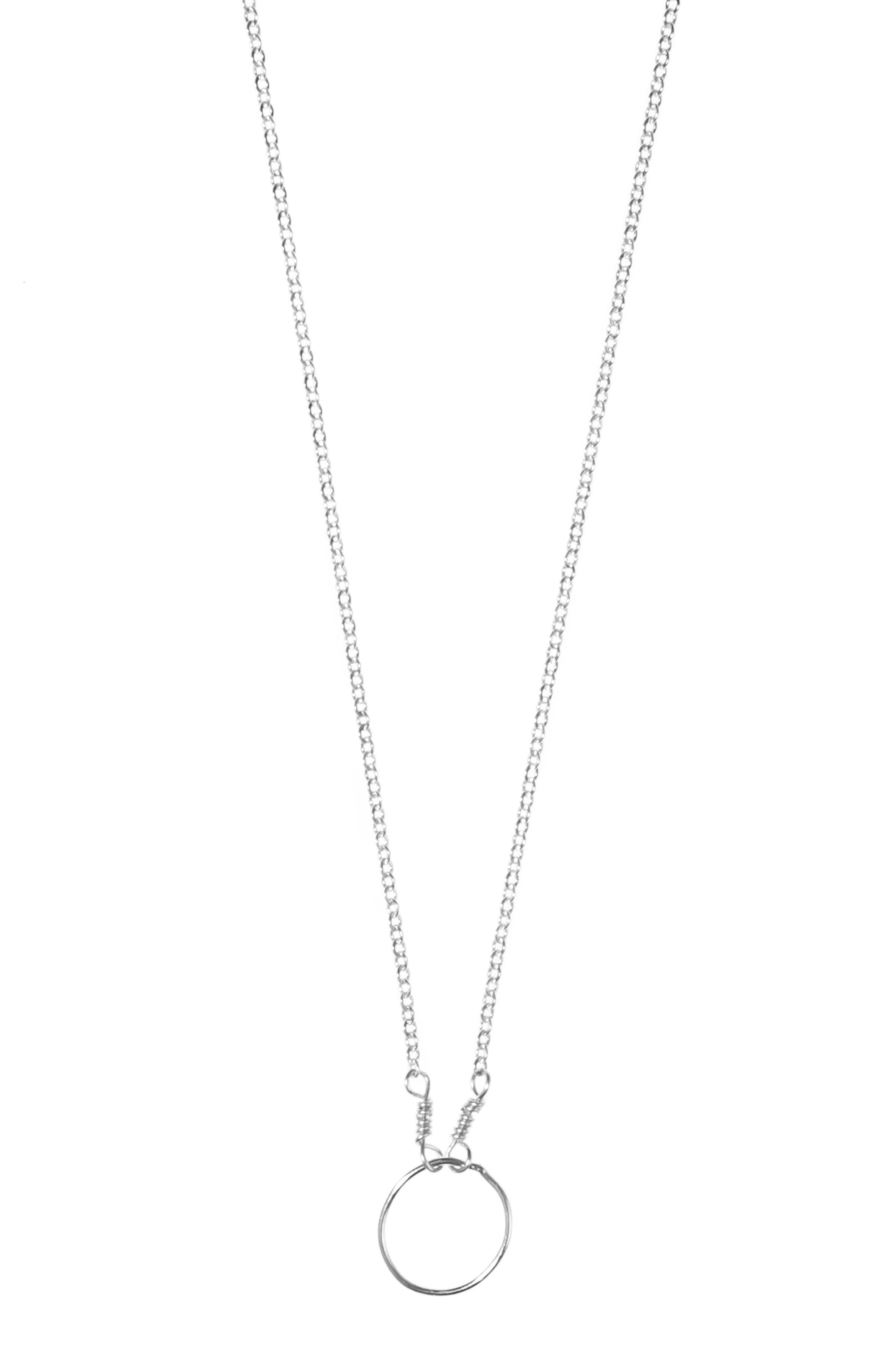 Pure Moon Pendant Necklace, Main, color, SILVER