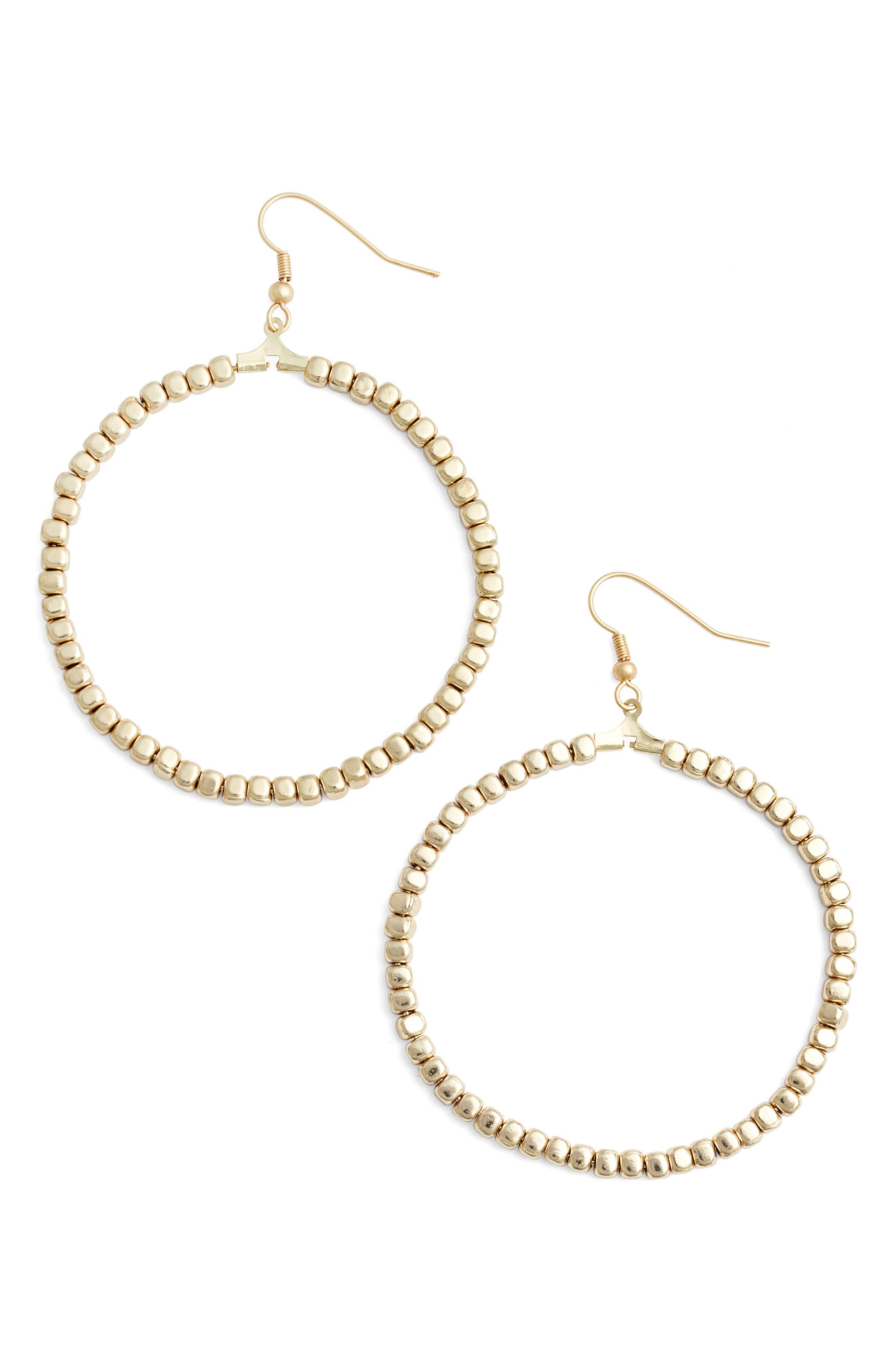 Ava Beaded Hoop Earrings,                             Main thumbnail 1, color,                             GOLD