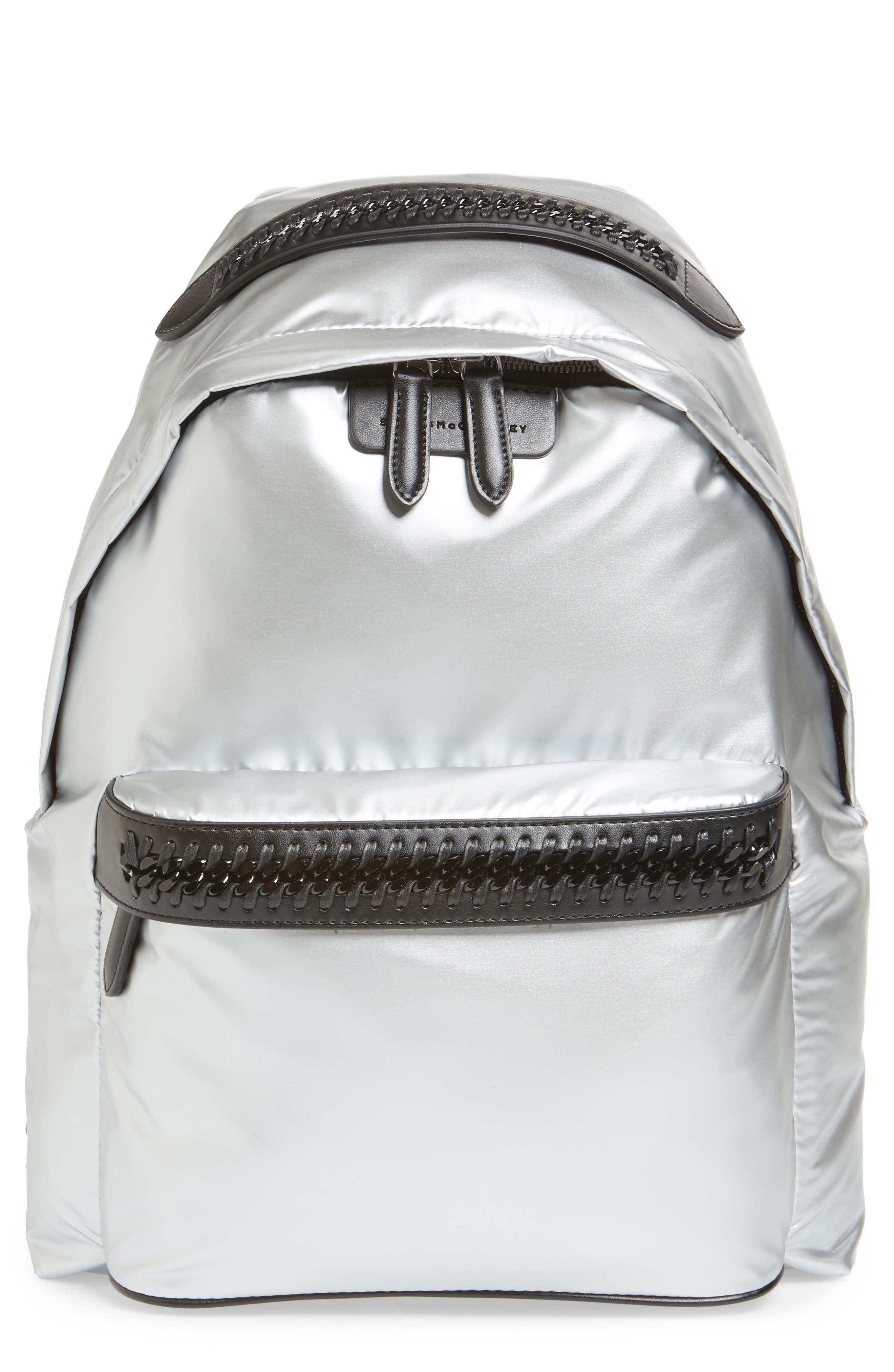 Falabella Metallic Nylon Backpack,                         Main,                         color, 045