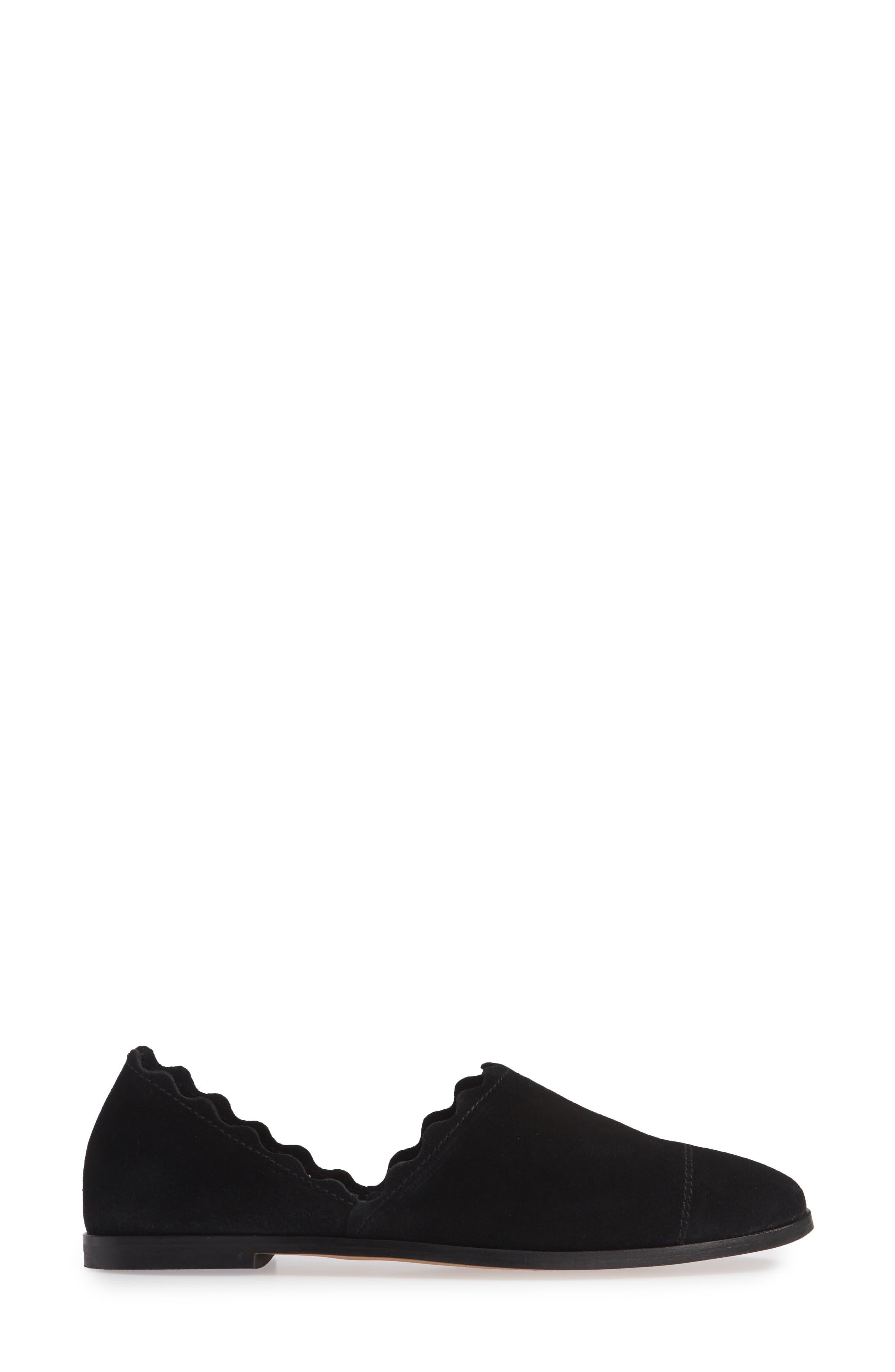 Georgette d'Orsay Flat,                             Alternate thumbnail 3, color,                             BLACK SUEDE