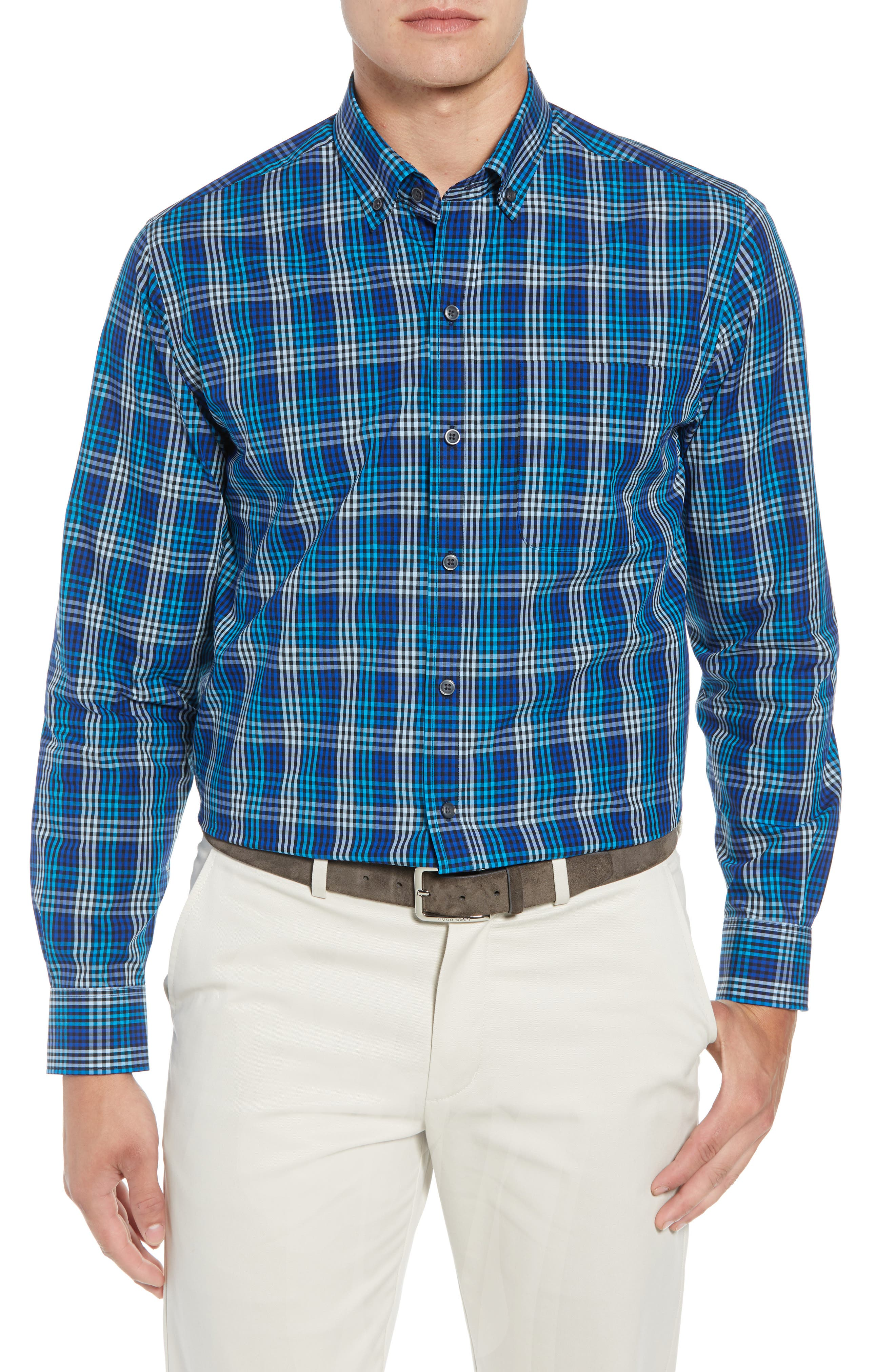 Cutter & Buck Sutton Regular Fit Non-Iron Check Sport Shirt, Blue