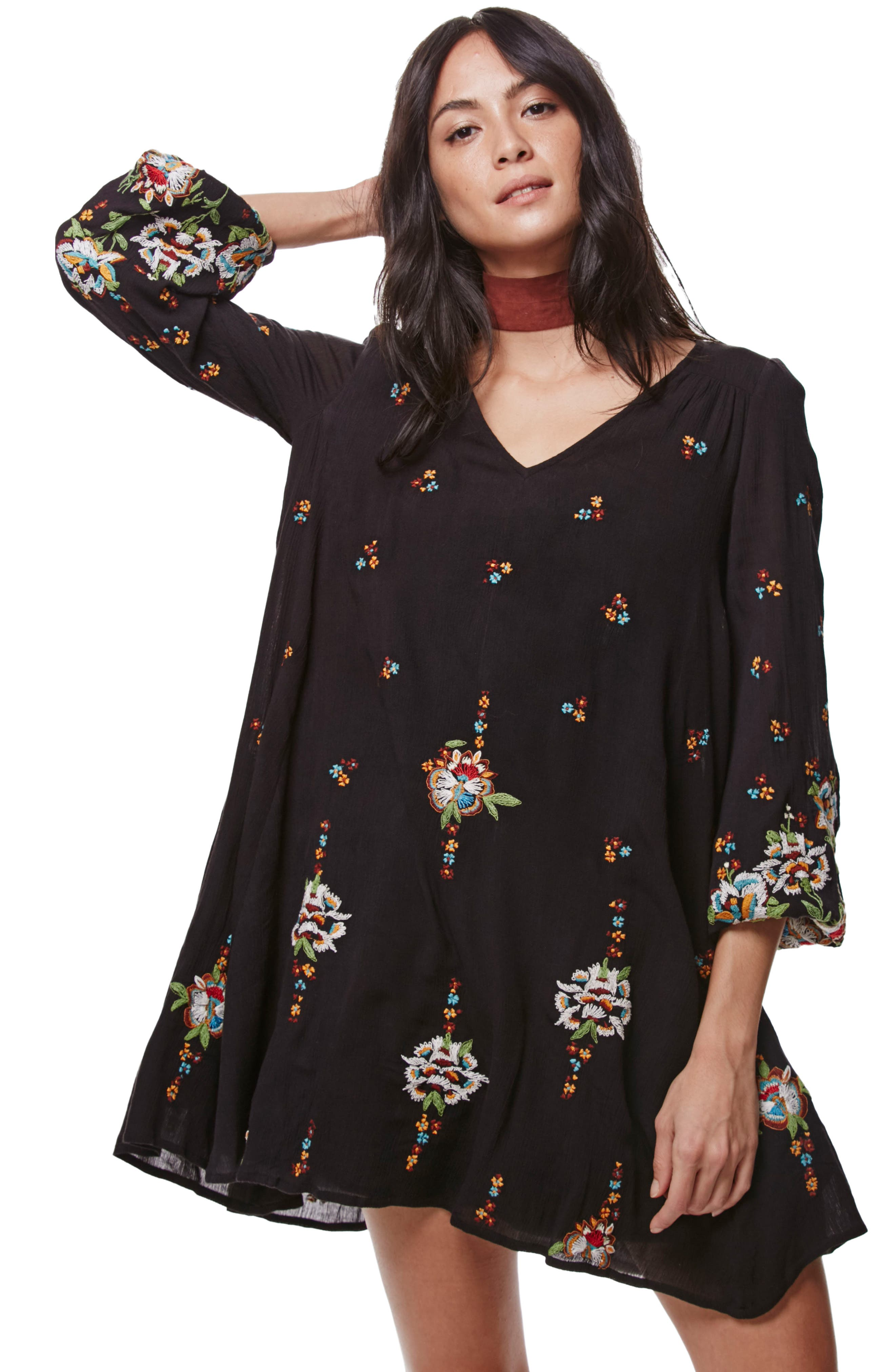 Embroidered Minidress,                             Alternate thumbnail 5, color,                             BLACK COMBO