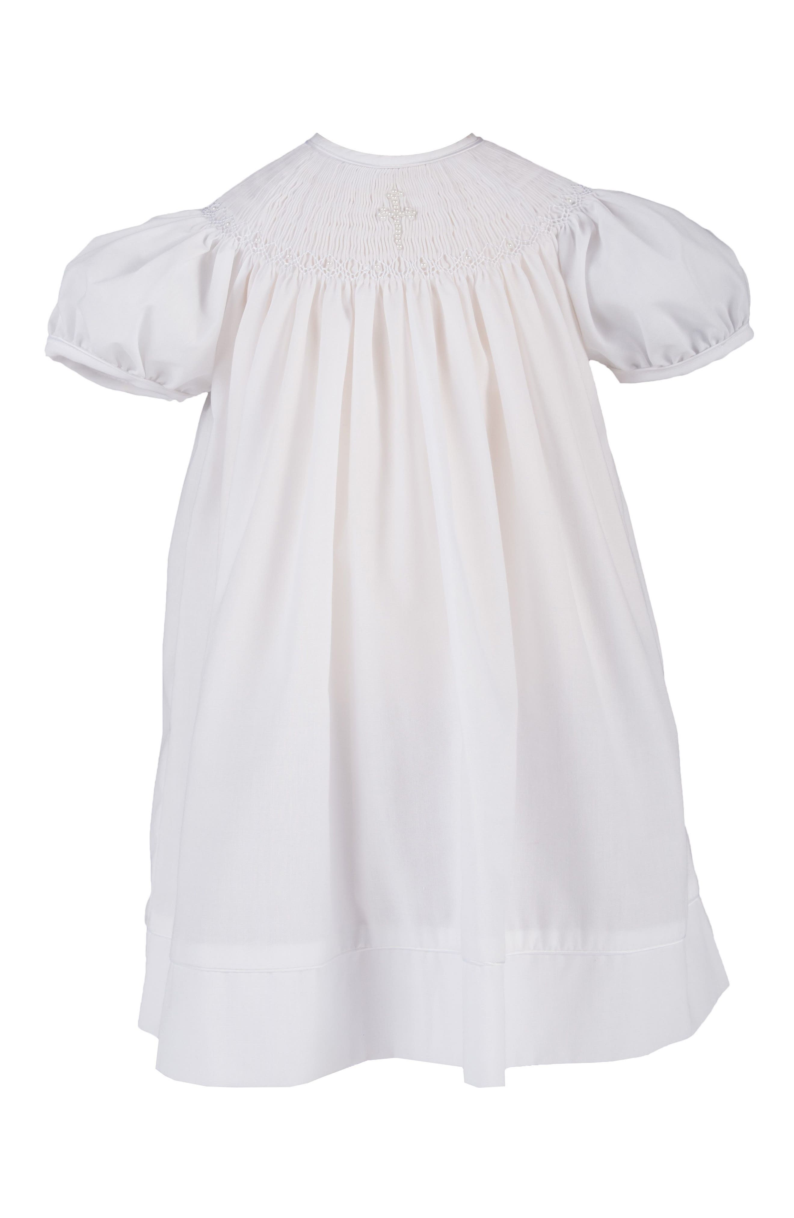 Imitation Pearl Cross Christening Gown & Bonnet Set,                             Alternate thumbnail 2, color,                             WHITE