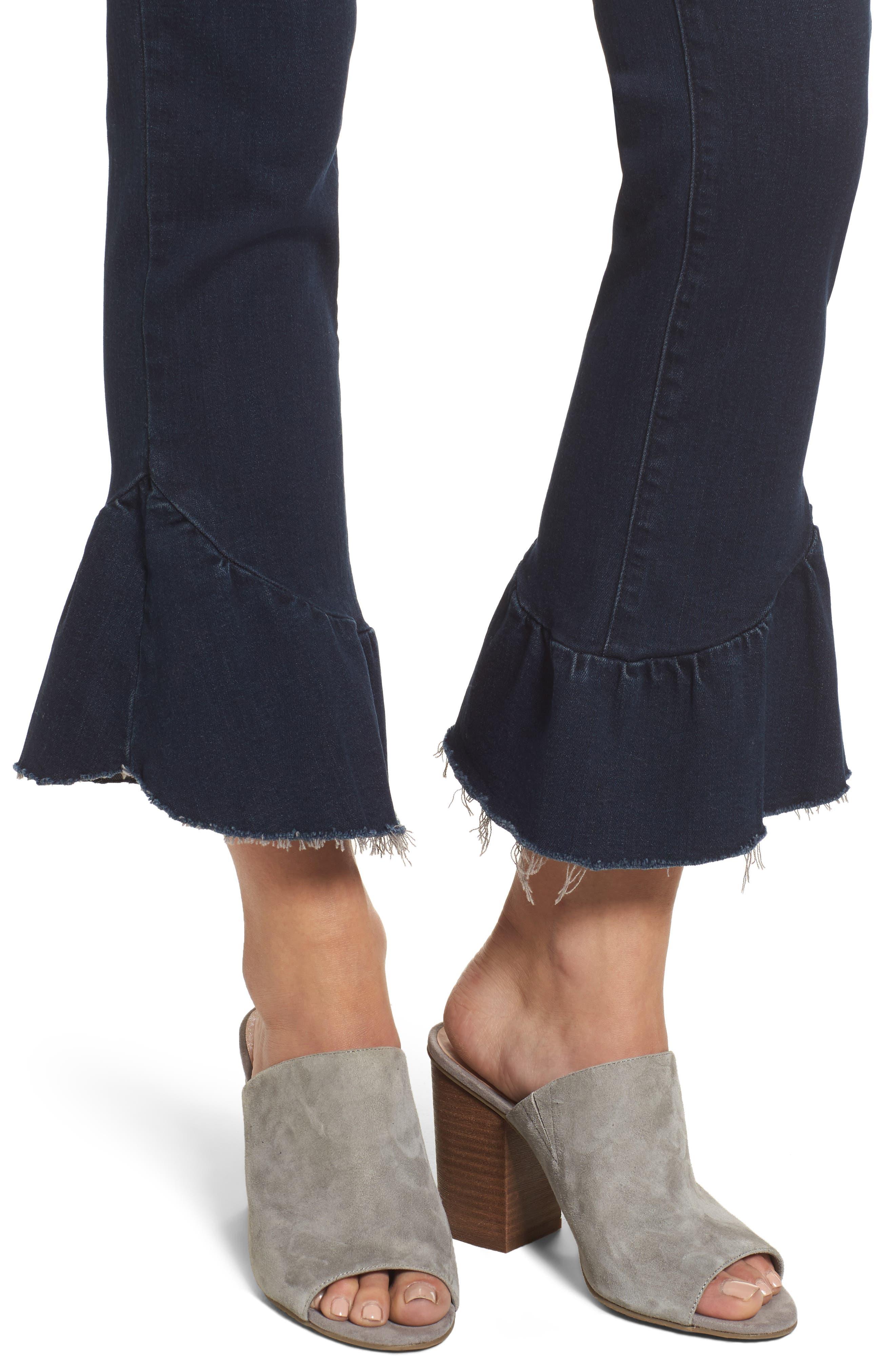 Flora Ruffle Hem Crop Straight Leg Jeans,                             Alternate thumbnail 4, color,                             400