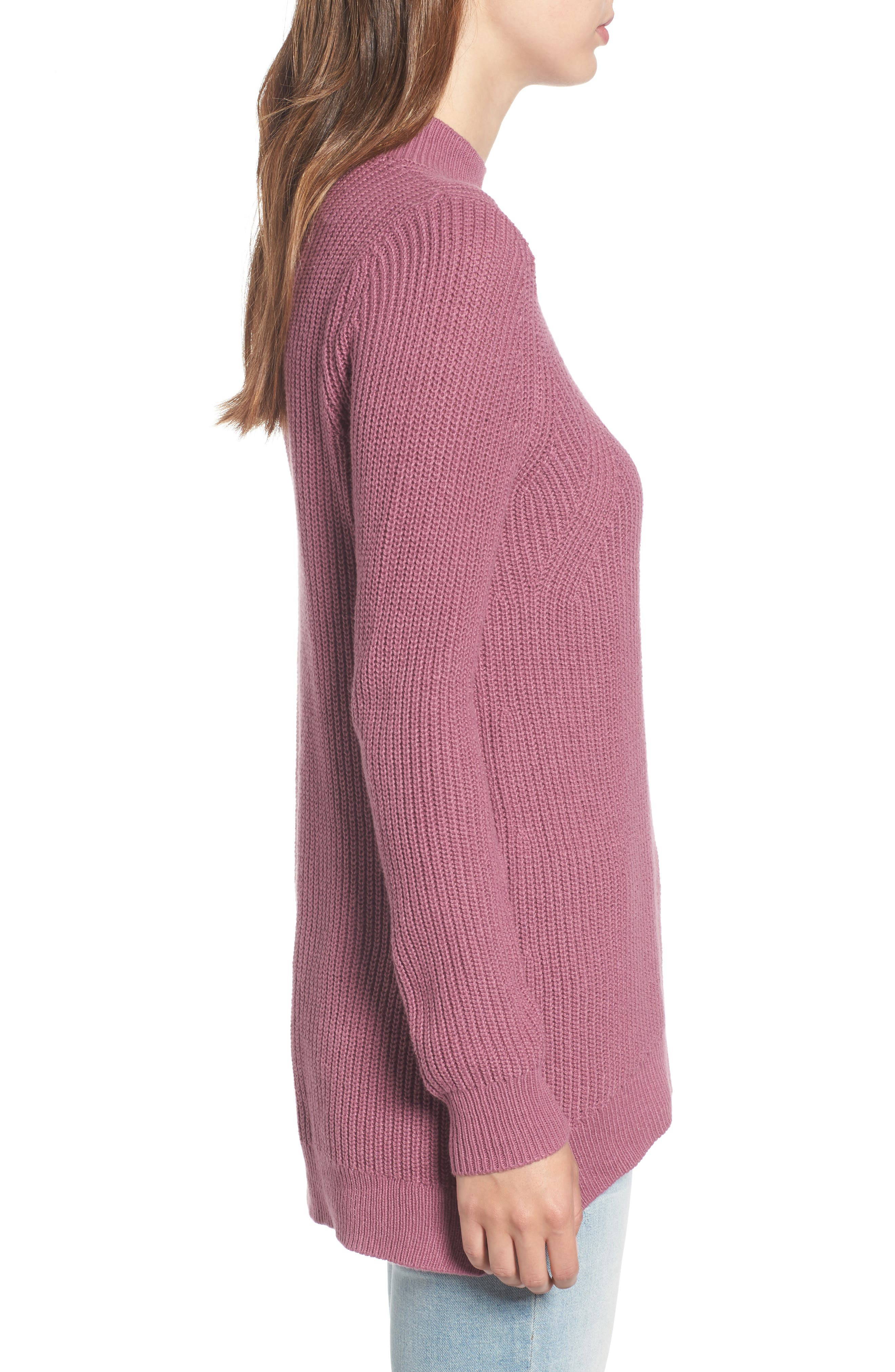 Mock Neck Tunic Sweater,                             Alternate thumbnail 21, color,