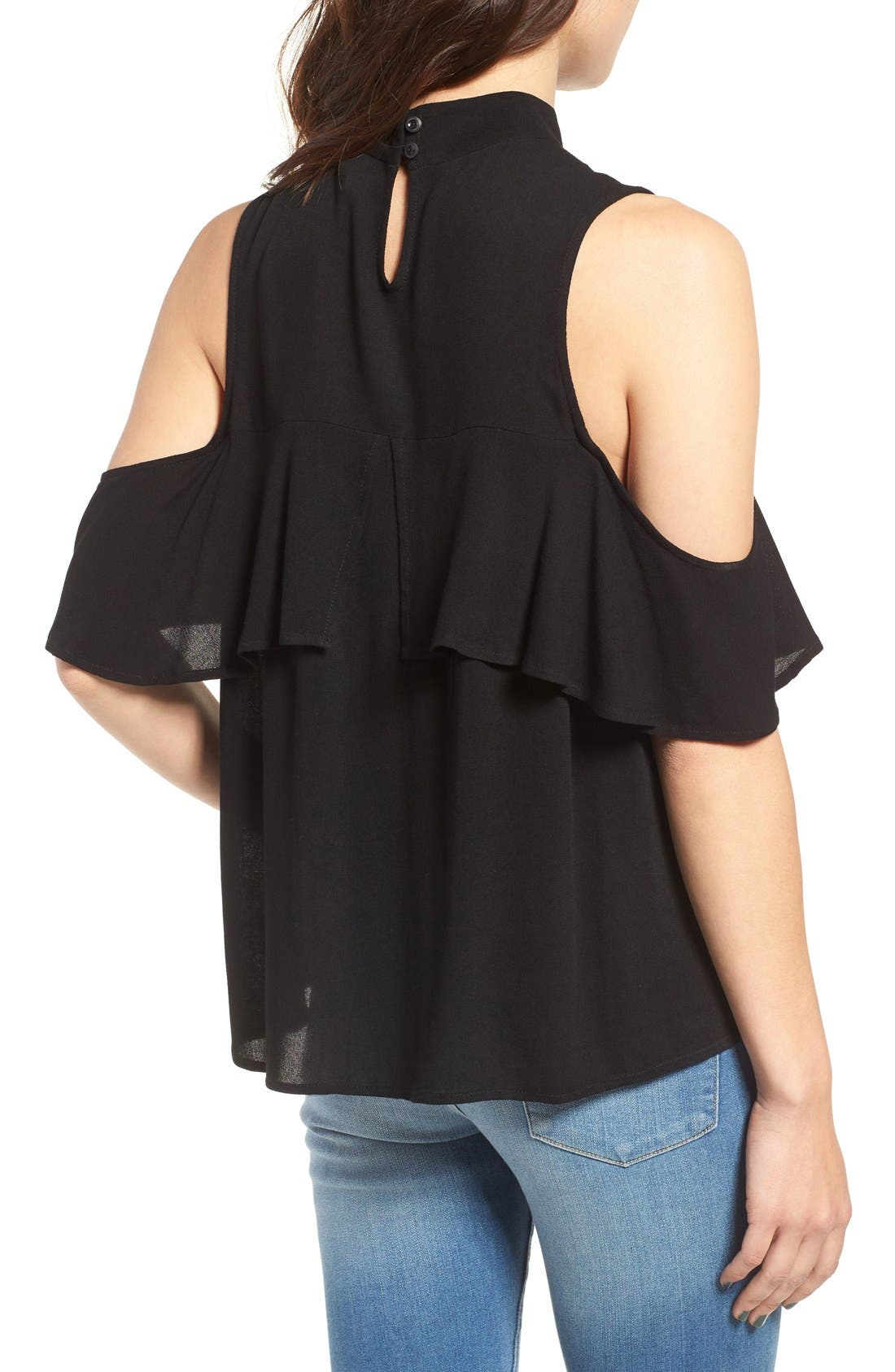 Ruffle Cold Shoulder Top,                             Alternate thumbnail 5, color,                             001