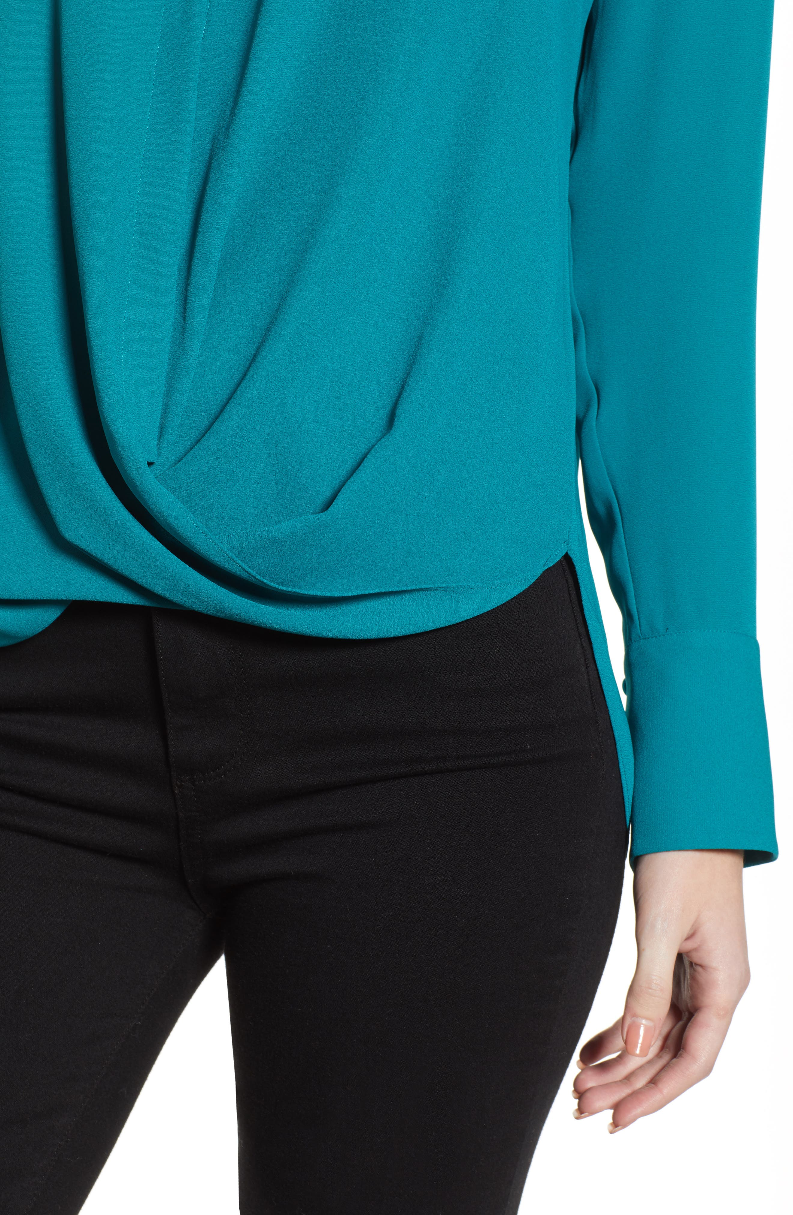 Drape Front Top,                             Alternate thumbnail 4, color,                             TEAL HARBOR