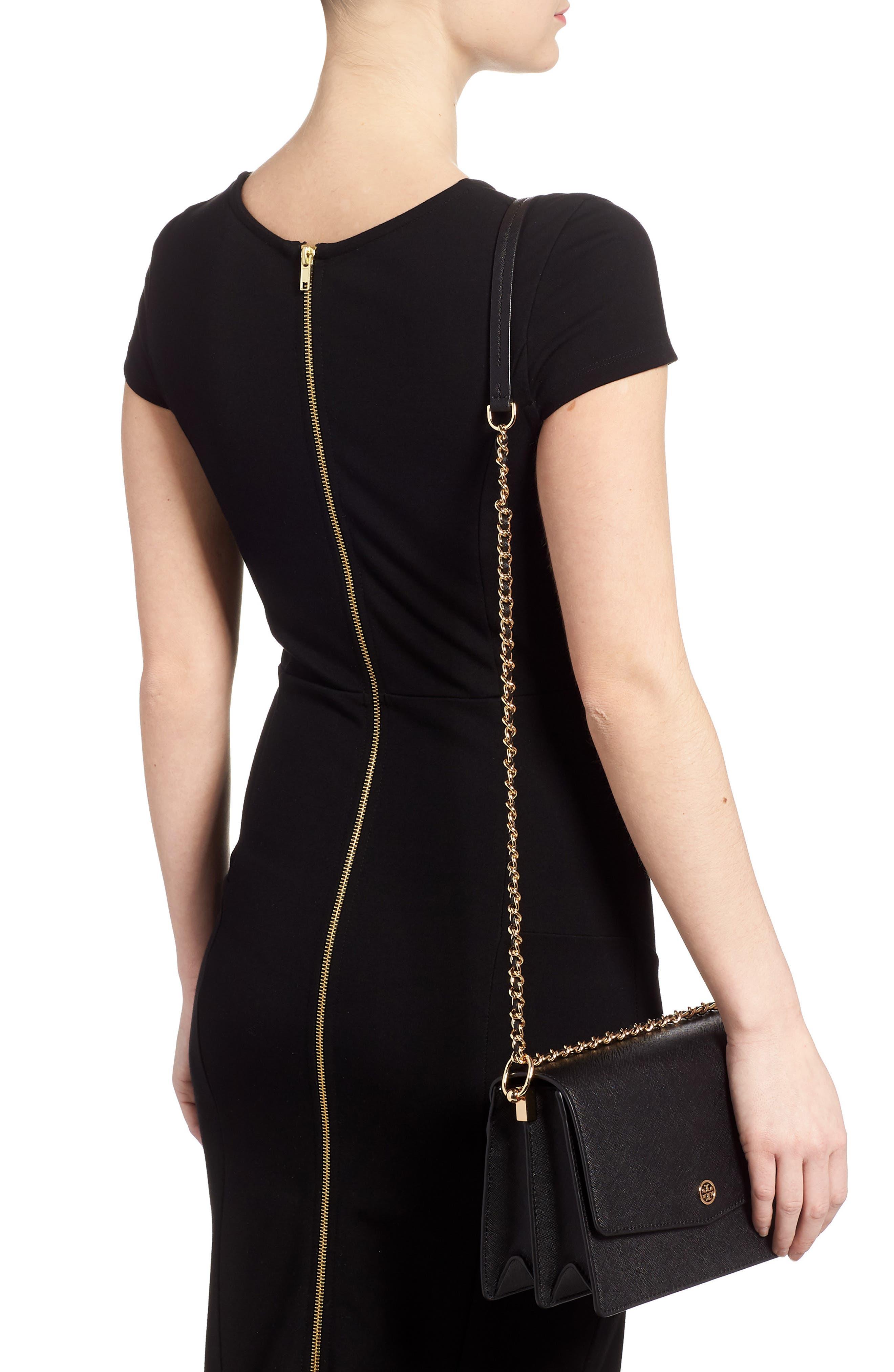 Robinson Convertible Leather Shoulder Bag,                             Alternate thumbnail 2, color,                             BLACK / ROYAL NAVY