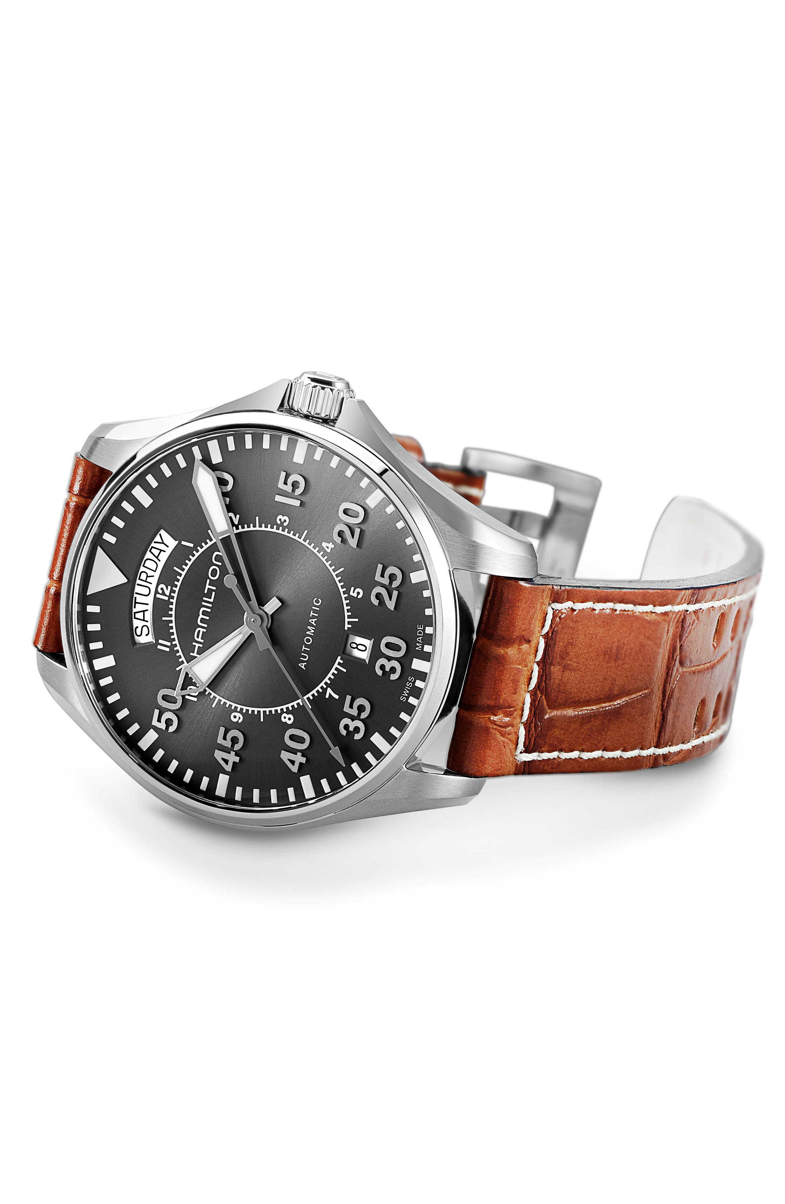 Khaki Pilot Automatic Leather Strap Watch, 42mm,                             Alternate thumbnail 3, color,                             BROWN/ GREY/ SILVER