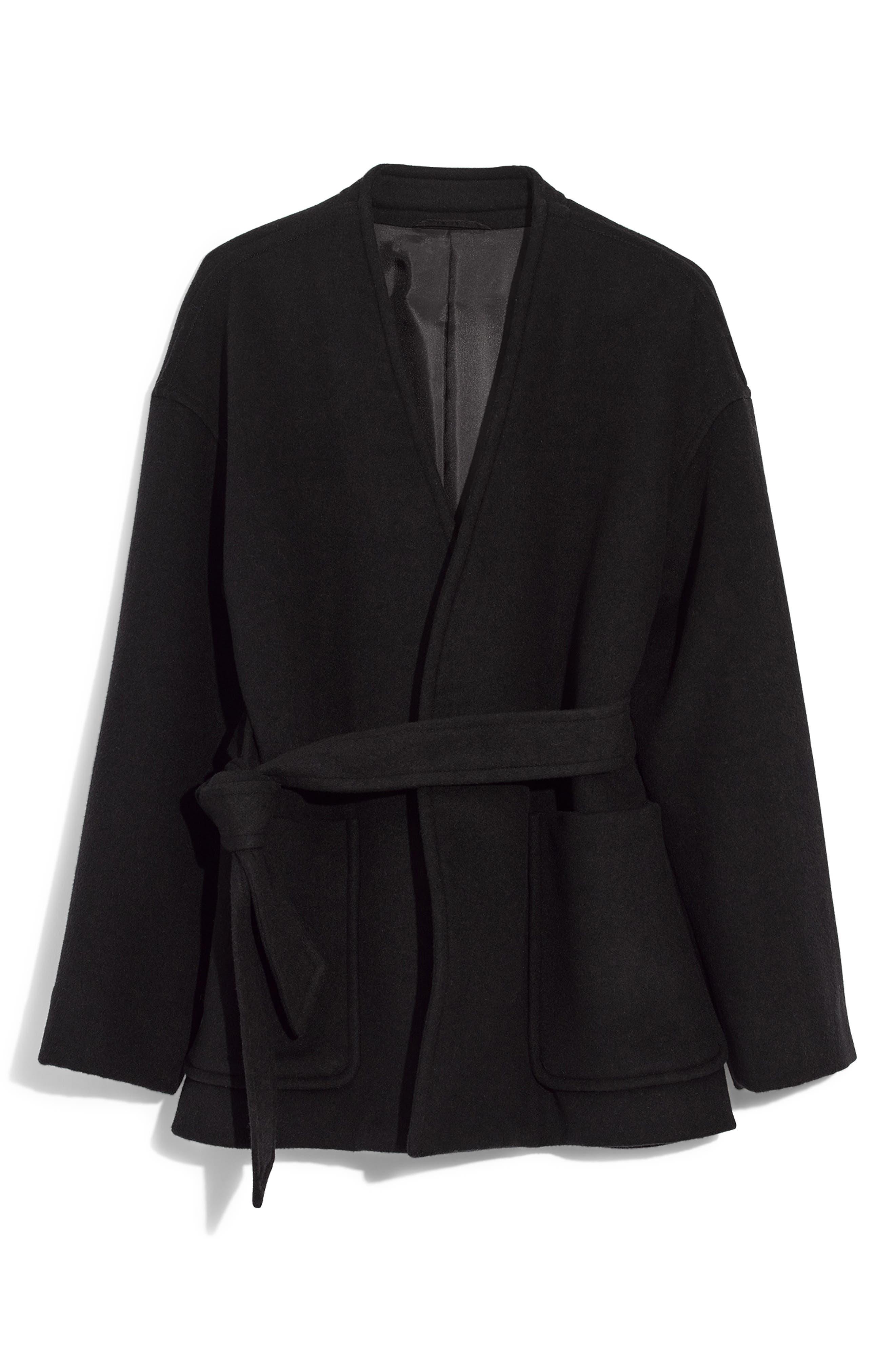 Belted Wool Blend Wrap Coat,                         Main,                         color, TRUE BLACK