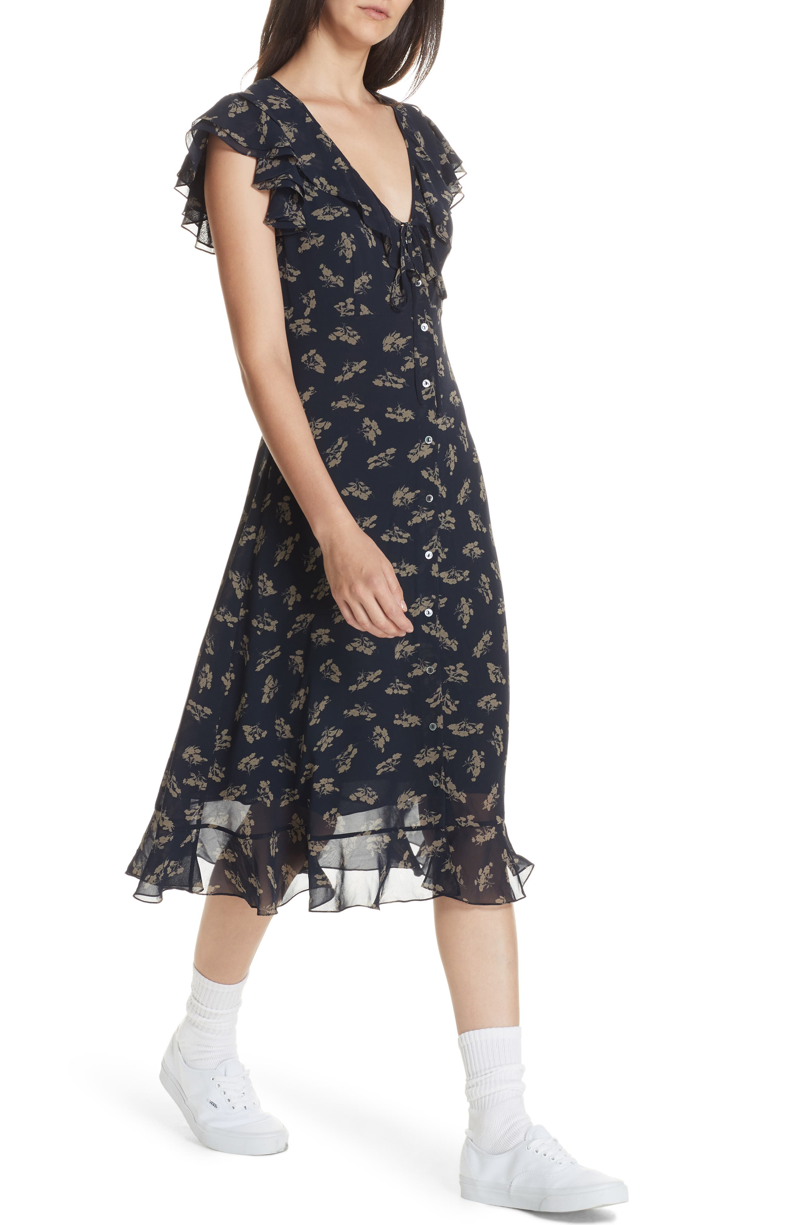 Ruffled Floral Midi Dress,                             Alternate thumbnail 4, color,                             ETCHING FLORAL