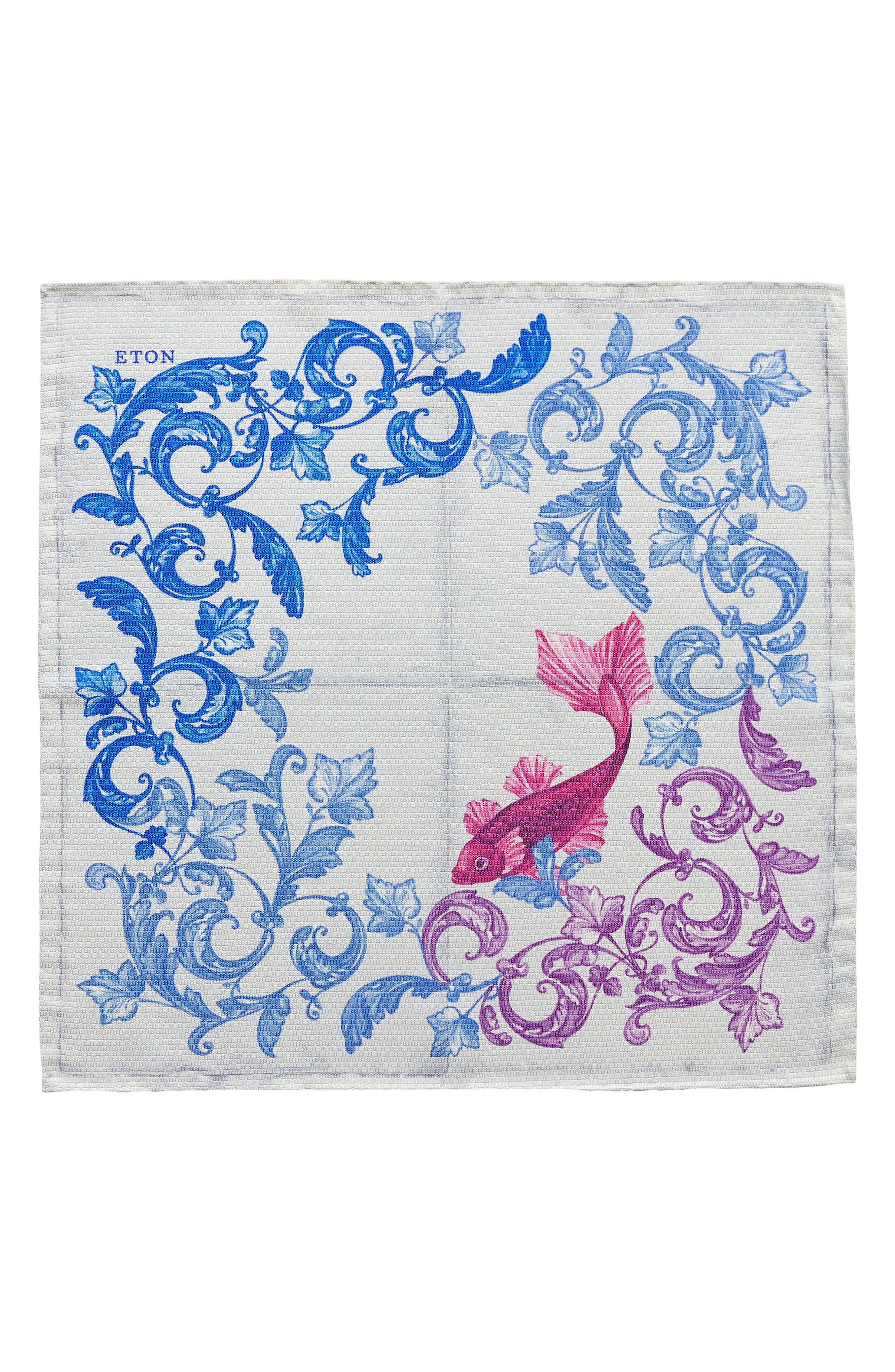 Koi Silk Pocket Square,                             Alternate thumbnail 2, color,                             PURPLE