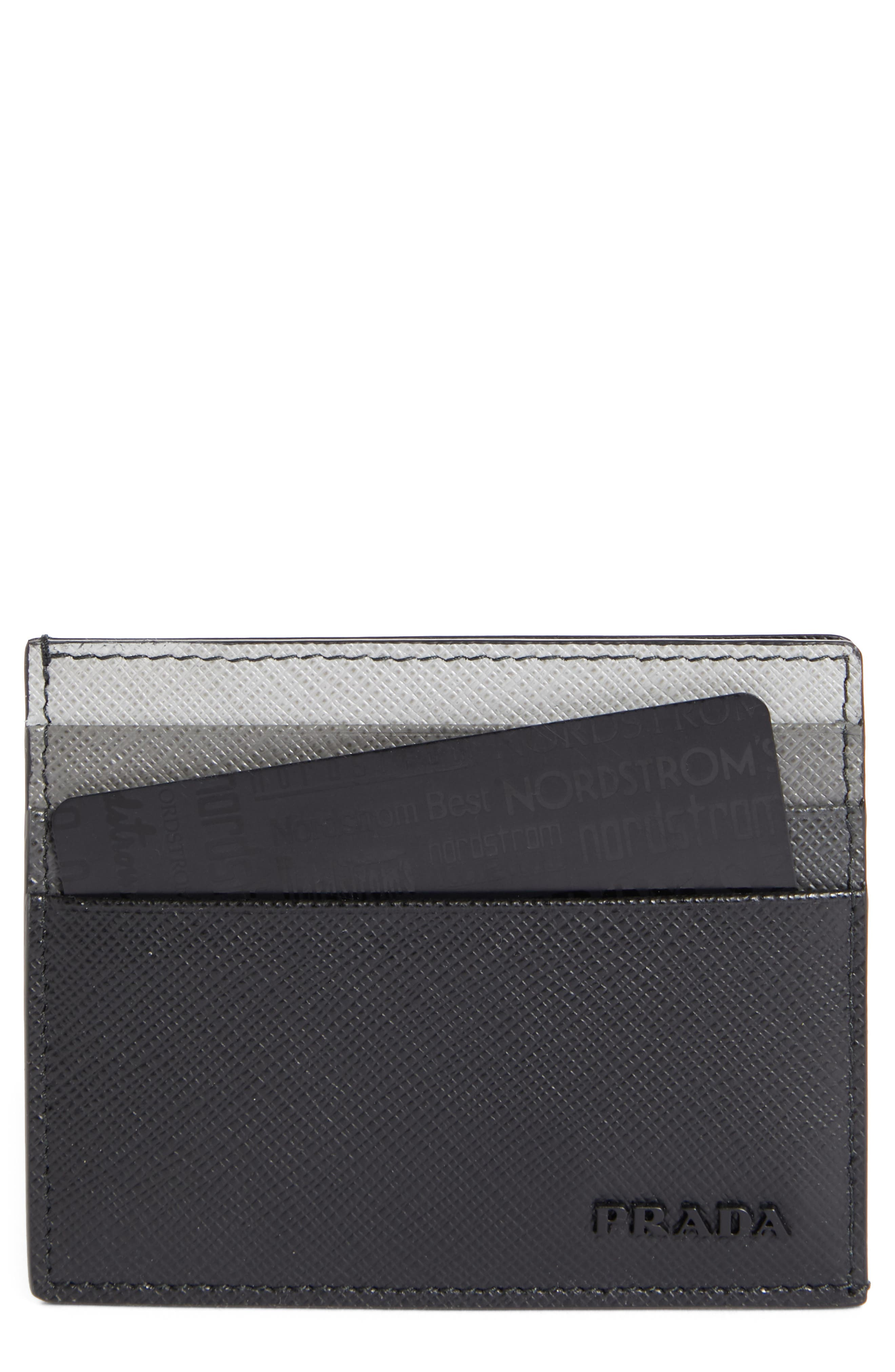 PRADA,                             Multicolor Saffiano Leather Card Case,                             Main thumbnail 1, color,                             001