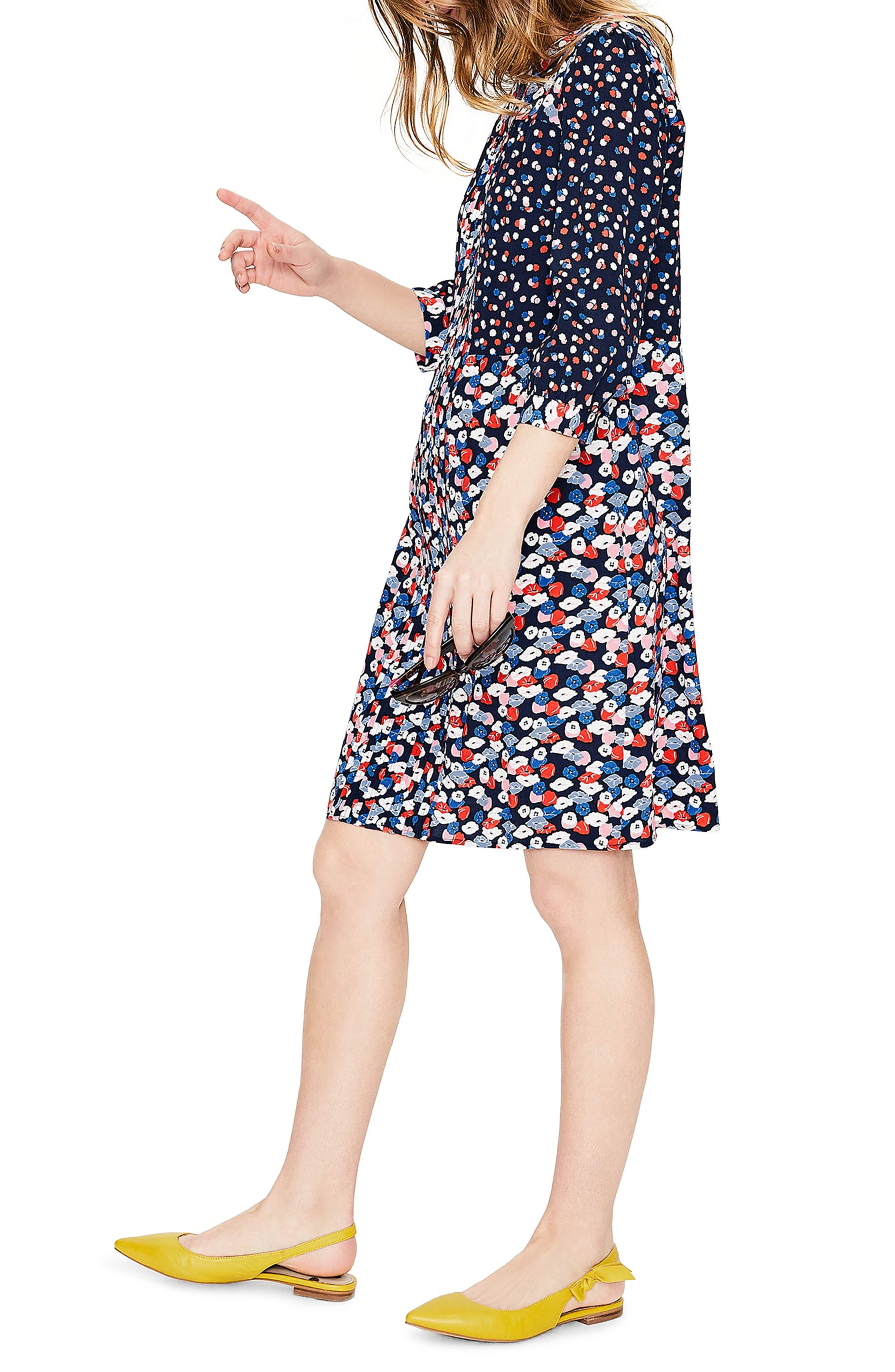 Hotchpotch Pattern Mix Pintuck Dress,                             Alternate thumbnail 3, color,                             486