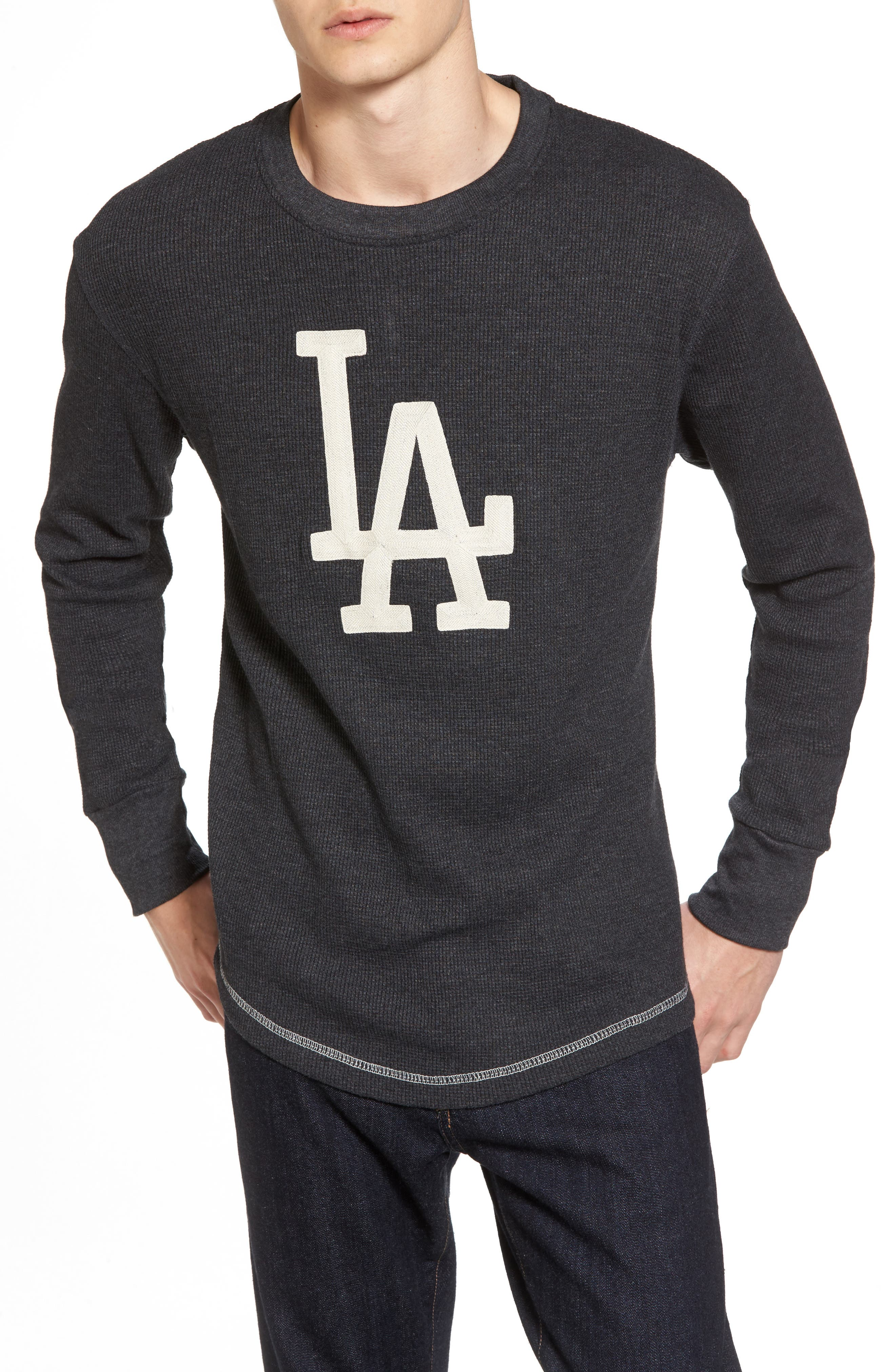 AMERICAN NEEDLE,                             Los Angeles Dodgers Embroidered Long Sleeve Thermal Shirt,                             Main thumbnail 1, color,                             001
