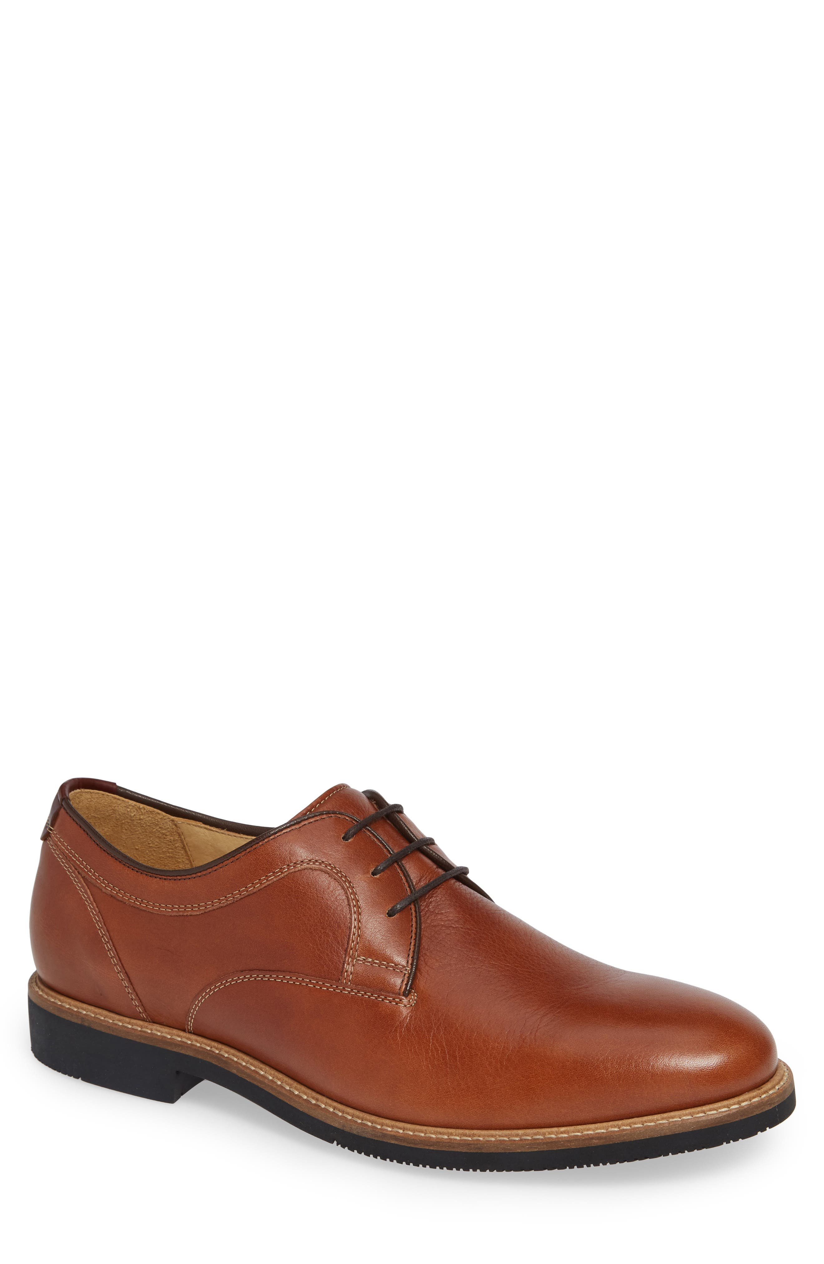 Barlow Plain Toe Derby,                             Main thumbnail 1, color,                             DARK TAN LEATHER