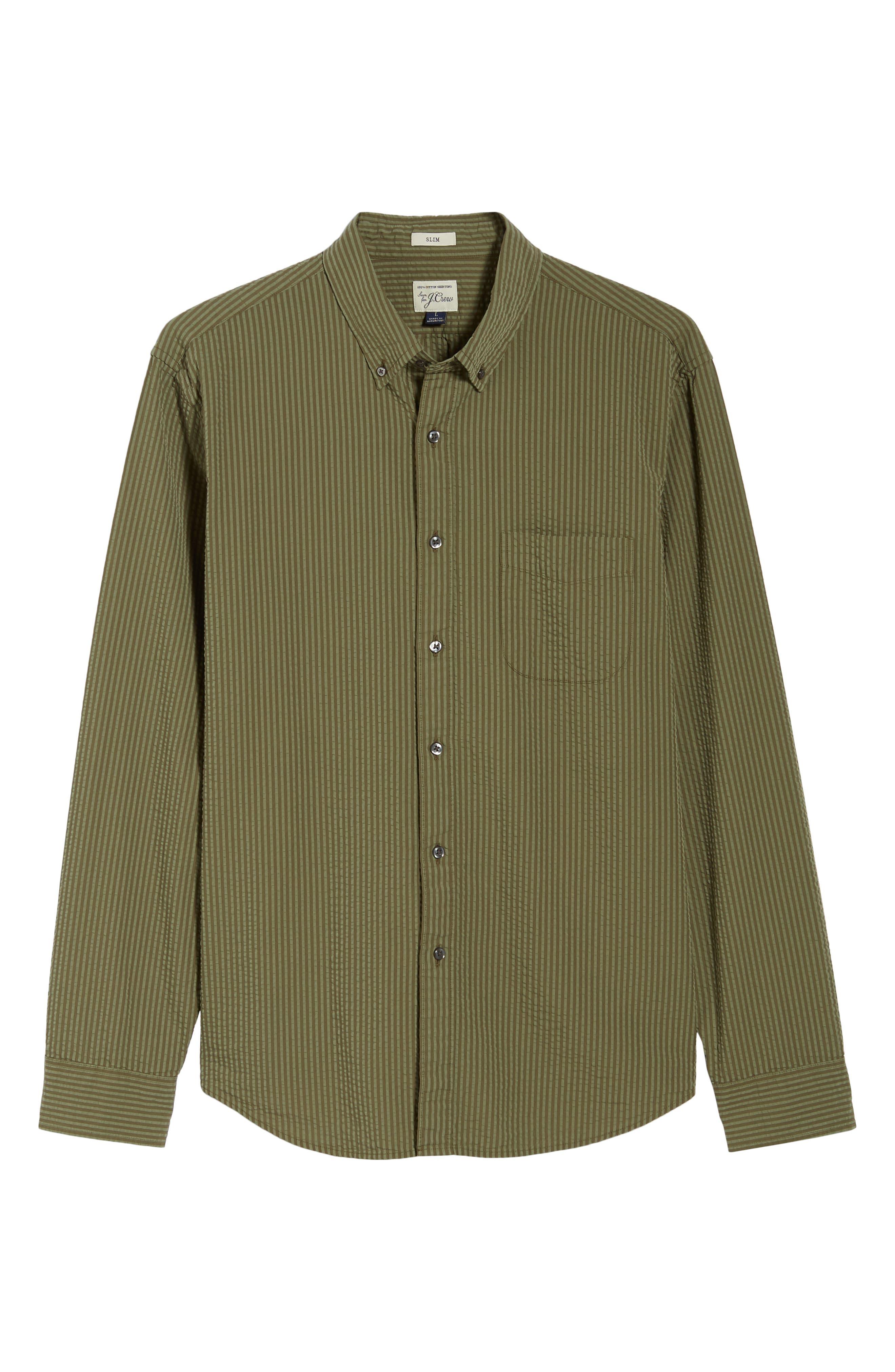 Slim Fit Stripe Seersucker Sport Shirt,                             Alternate thumbnail 6, color,                             SURPLUS WX2234