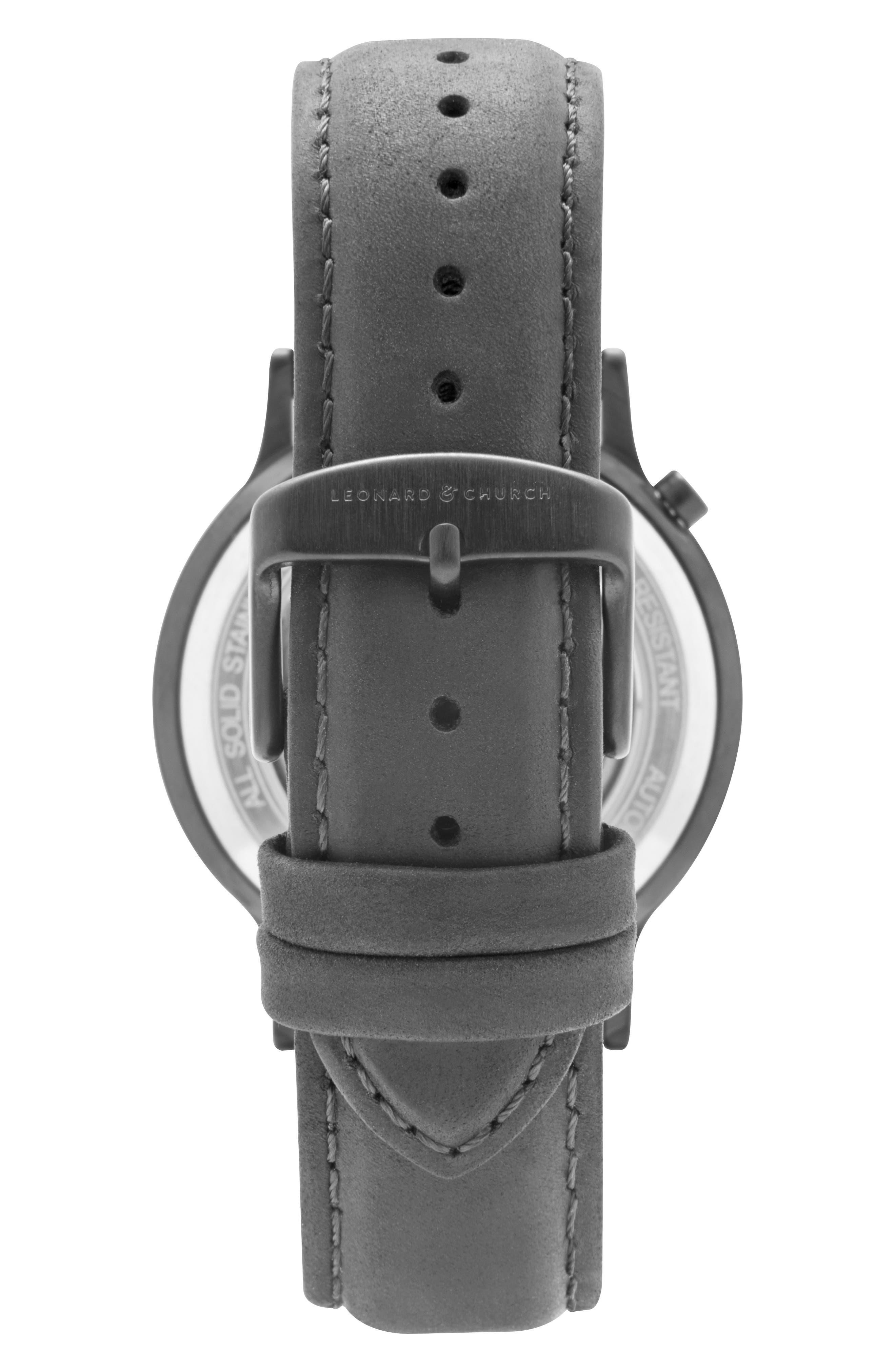 Leonard & Church Sullivan Automatic Suede Strap Watch, 39mm,                             Alternate thumbnail 2, color,                             BLACK