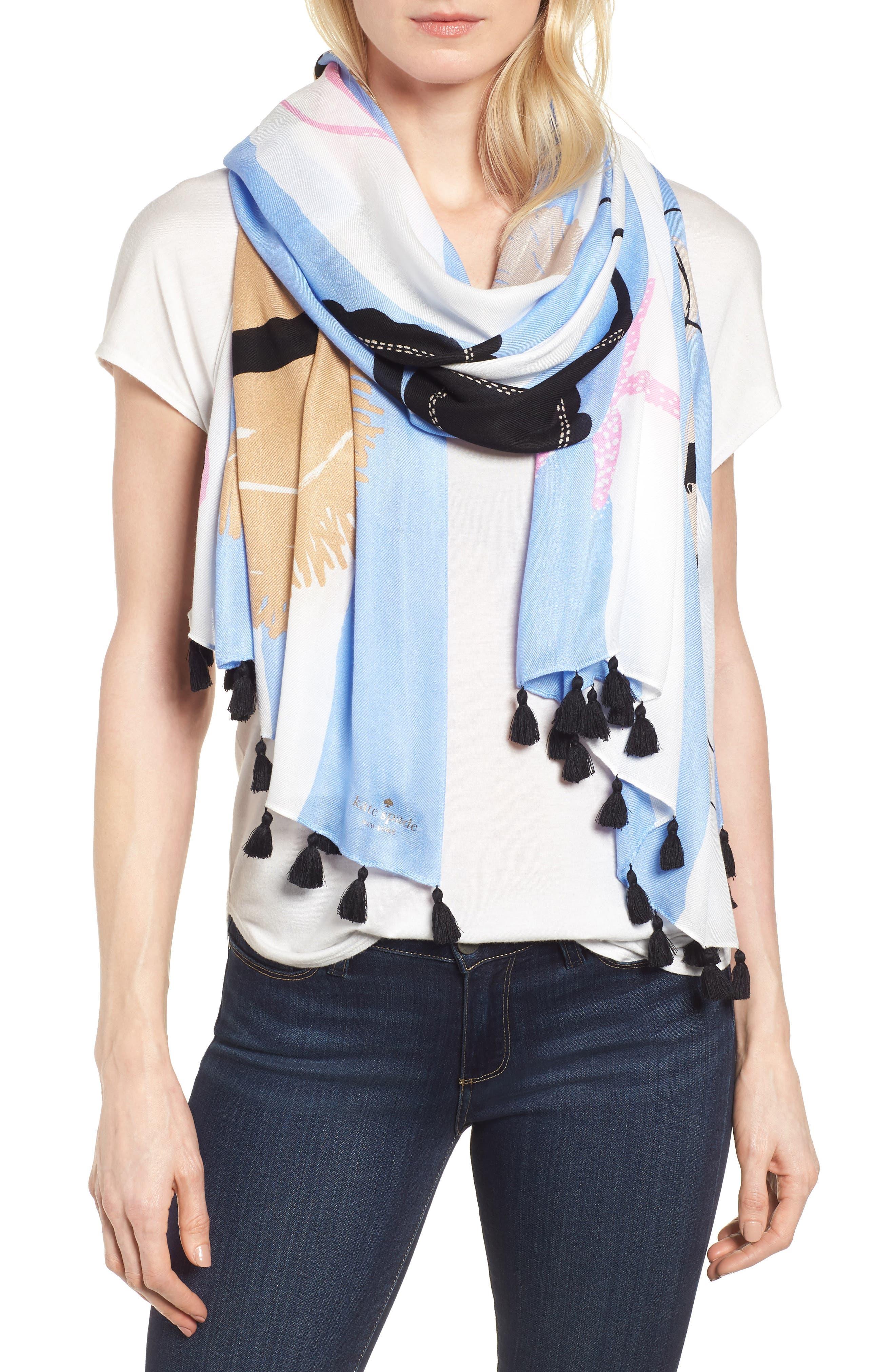beach towel scarf,                         Main,                         color, CREAM
