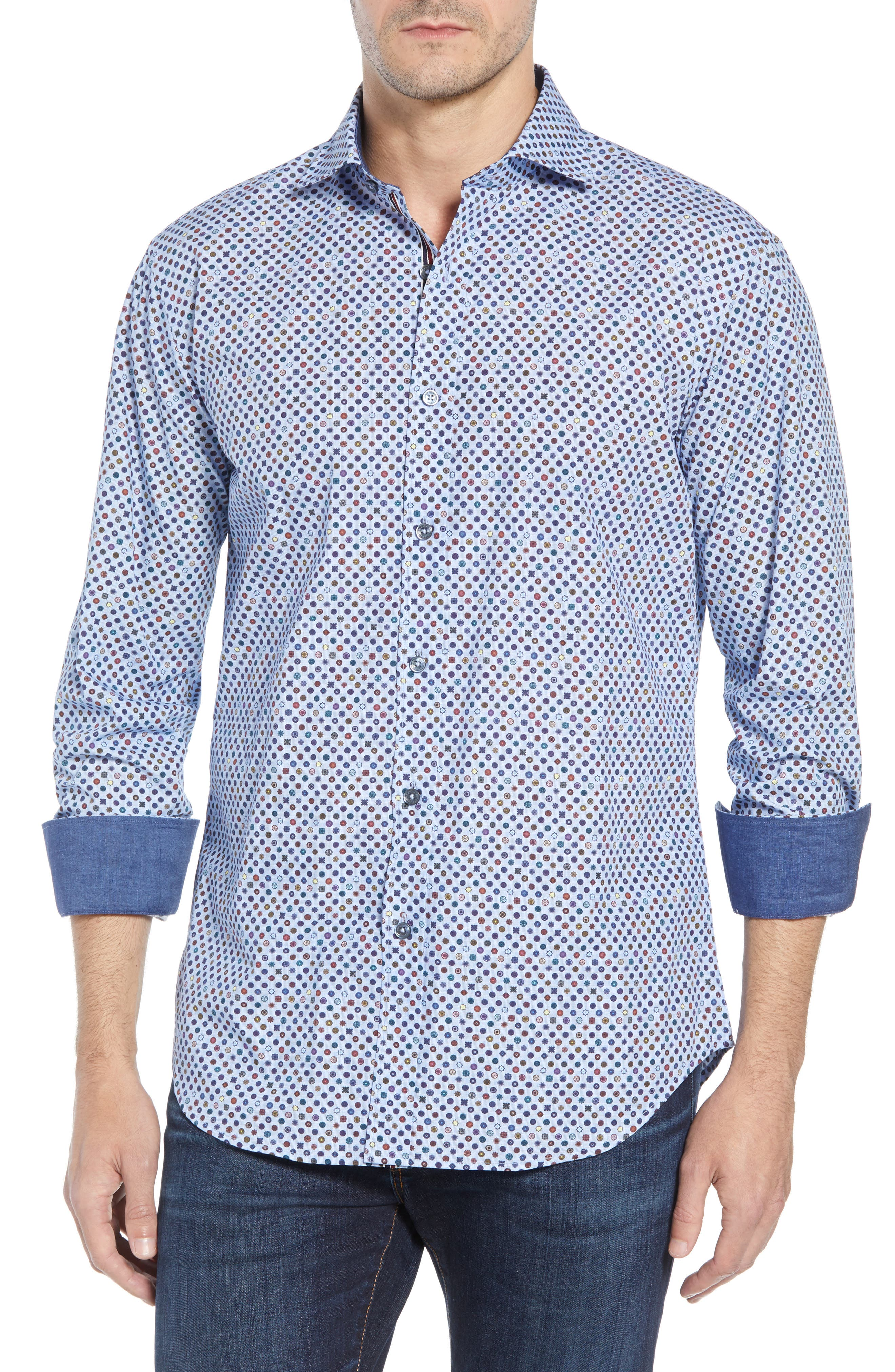 Shaped Fit Print Sport Shirt,                             Main thumbnail 1, color,                             SKY