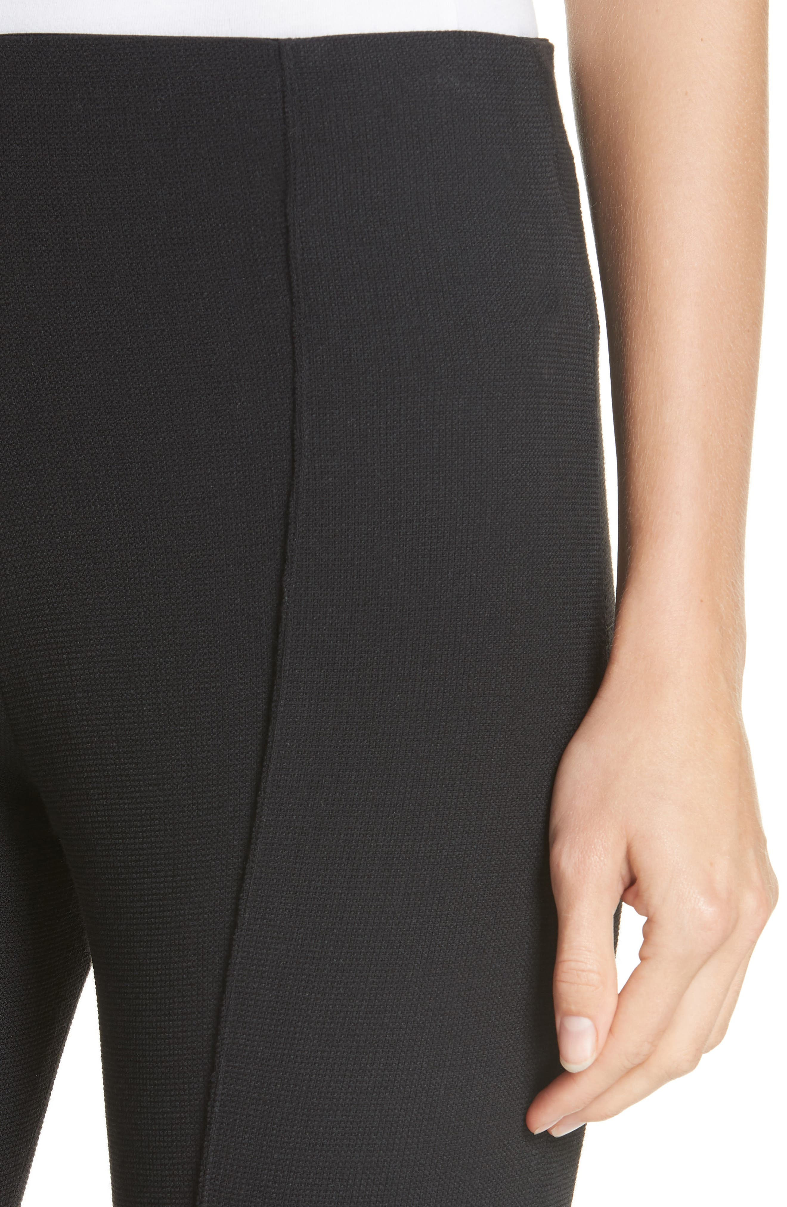 Pull-On Wool Blend Crop Flare Pants,                             Alternate thumbnail 4, color,                             BLACK PIQUE