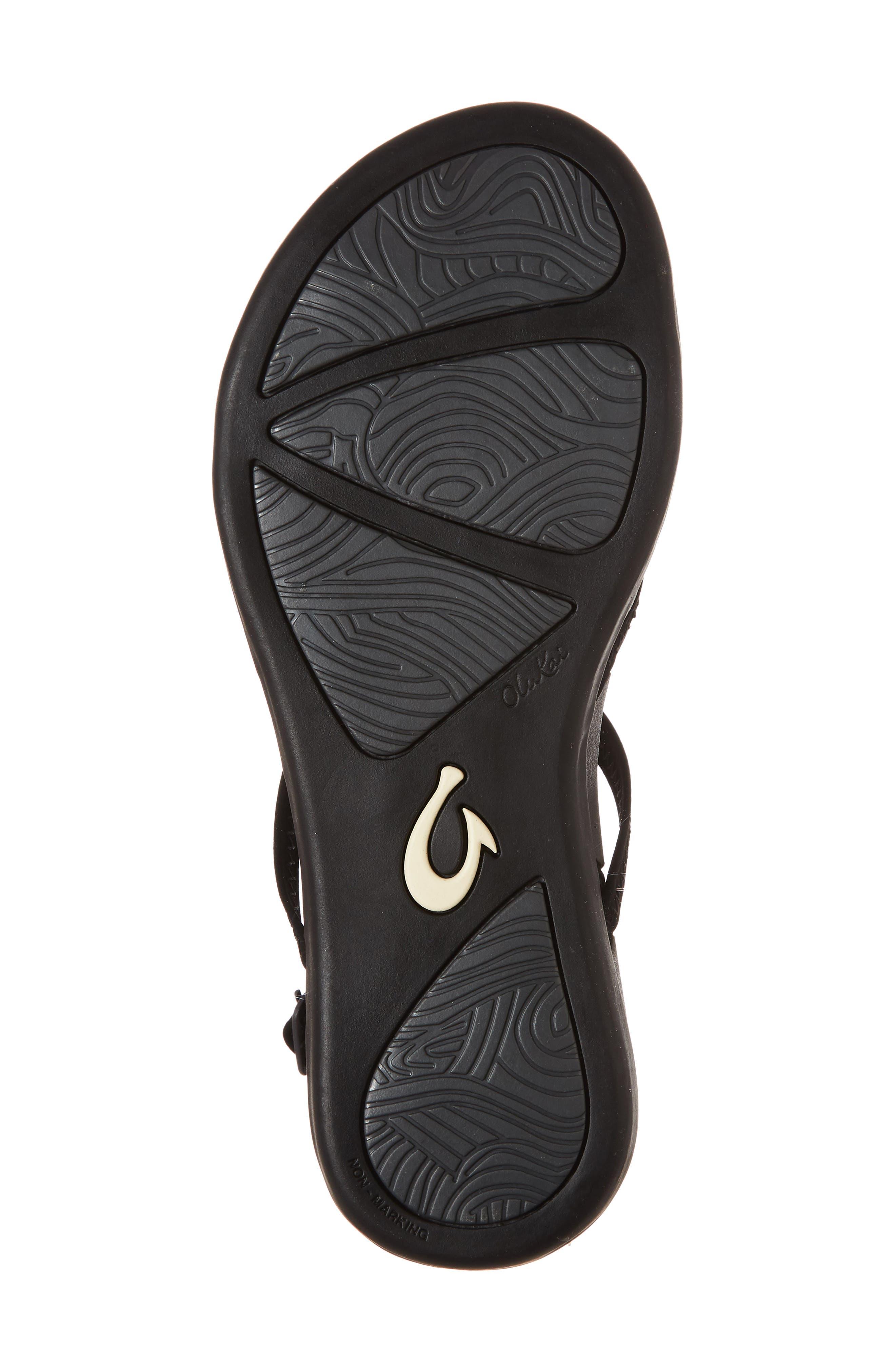 Kalapu Sandal,                             Alternate thumbnail 6, color,                             BLACK/ BLACK FAUX LEATHER