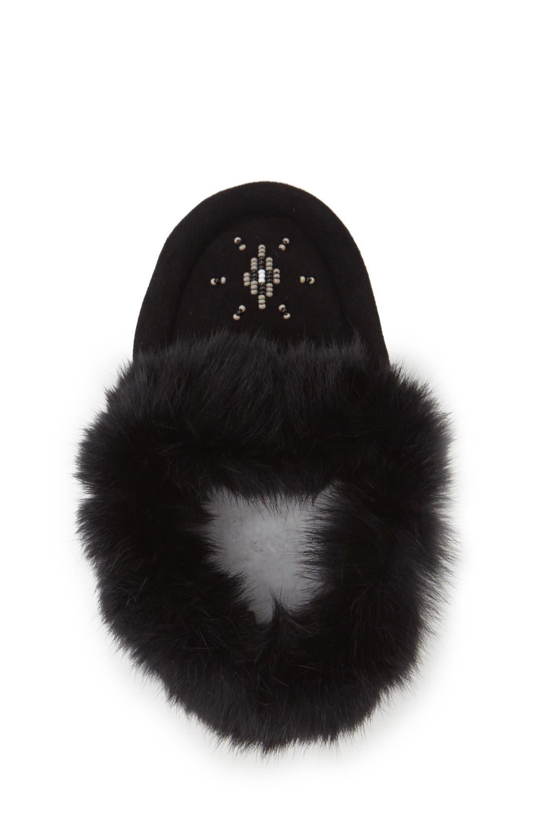 Genuine Rabbit Fur Moccasin,                             Alternate thumbnail 2, color,                             BLACK SUEDE