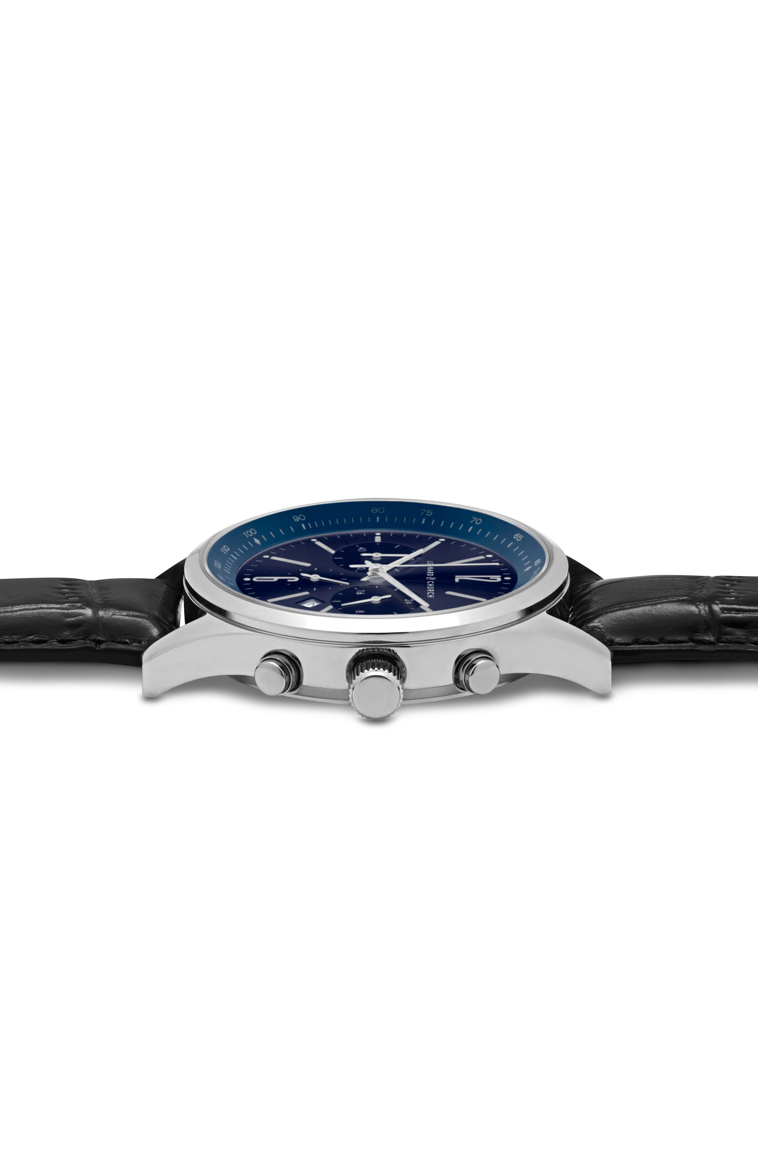 Leonard & Church Barclay Chronograph Leather Strap Watch, 43mm,                             Alternate thumbnail 6, color,                             BLACK/ BLUE/ SILVER