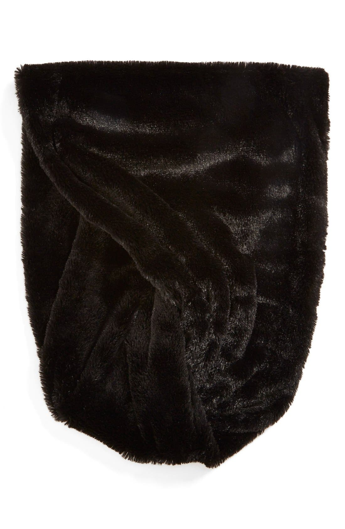 Faux Fur Infinity Scarf,                             Alternate thumbnail 3, color,                             001