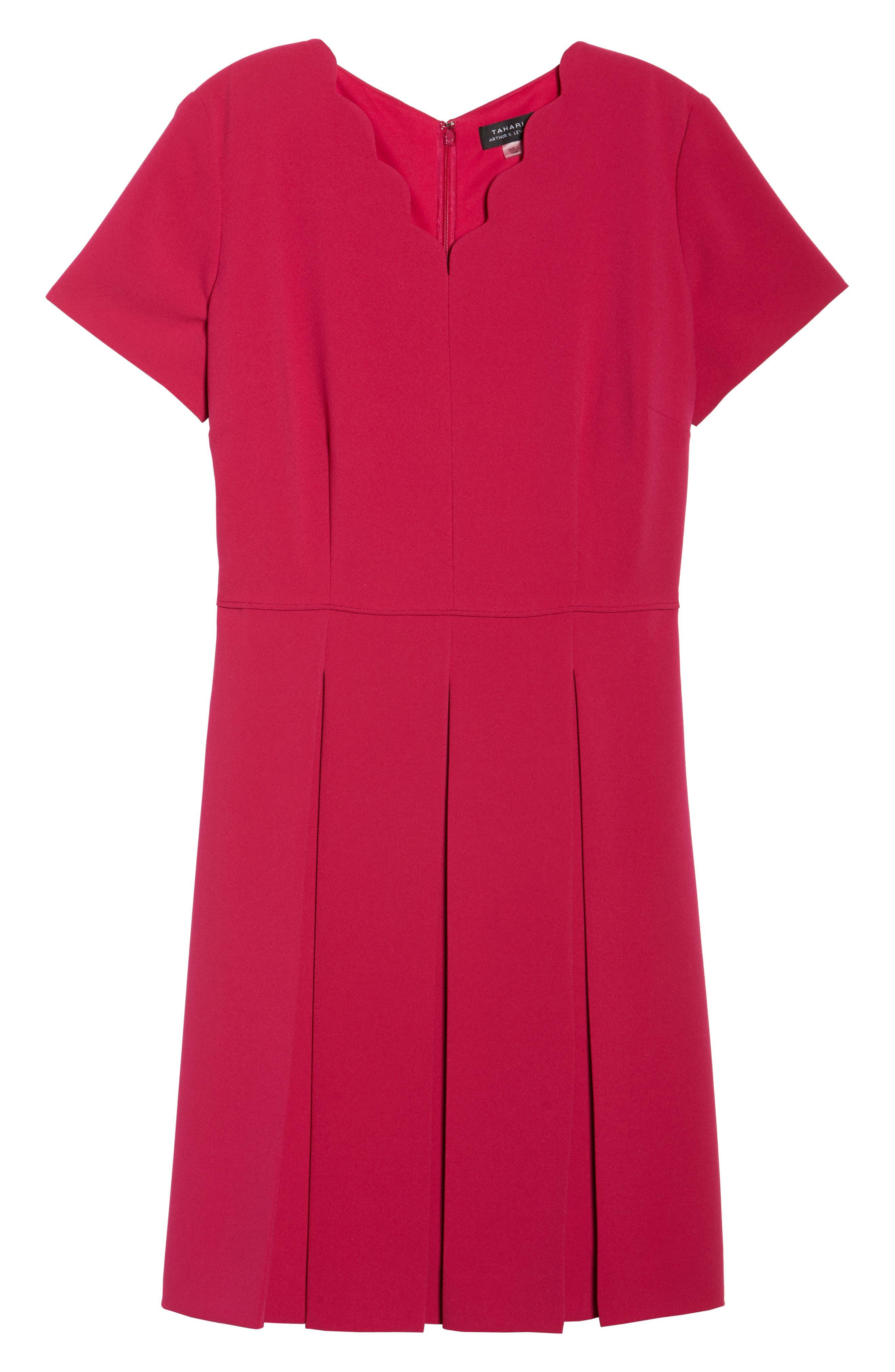 Scallop Neck A-Line Dress,                             Alternate thumbnail 6, color,                             677