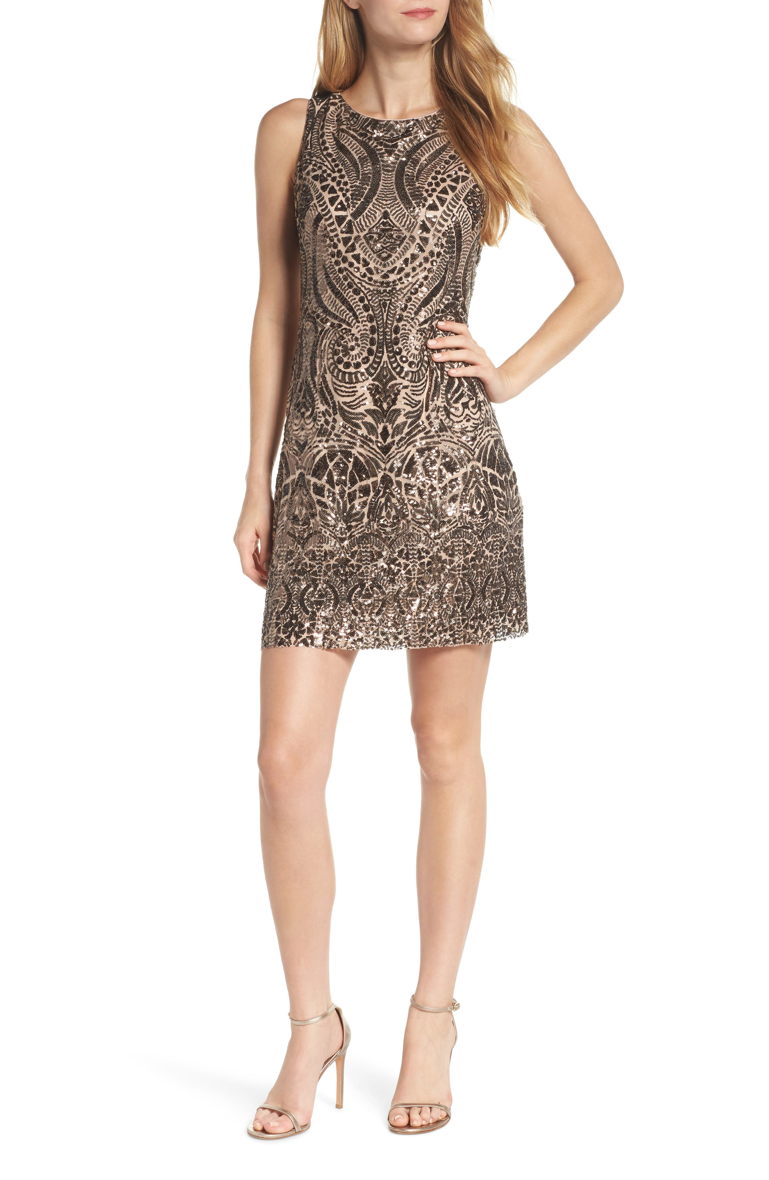 Sequin Embellished Sheath Dress,                             Main thumbnail 1, color,                             BRONZE