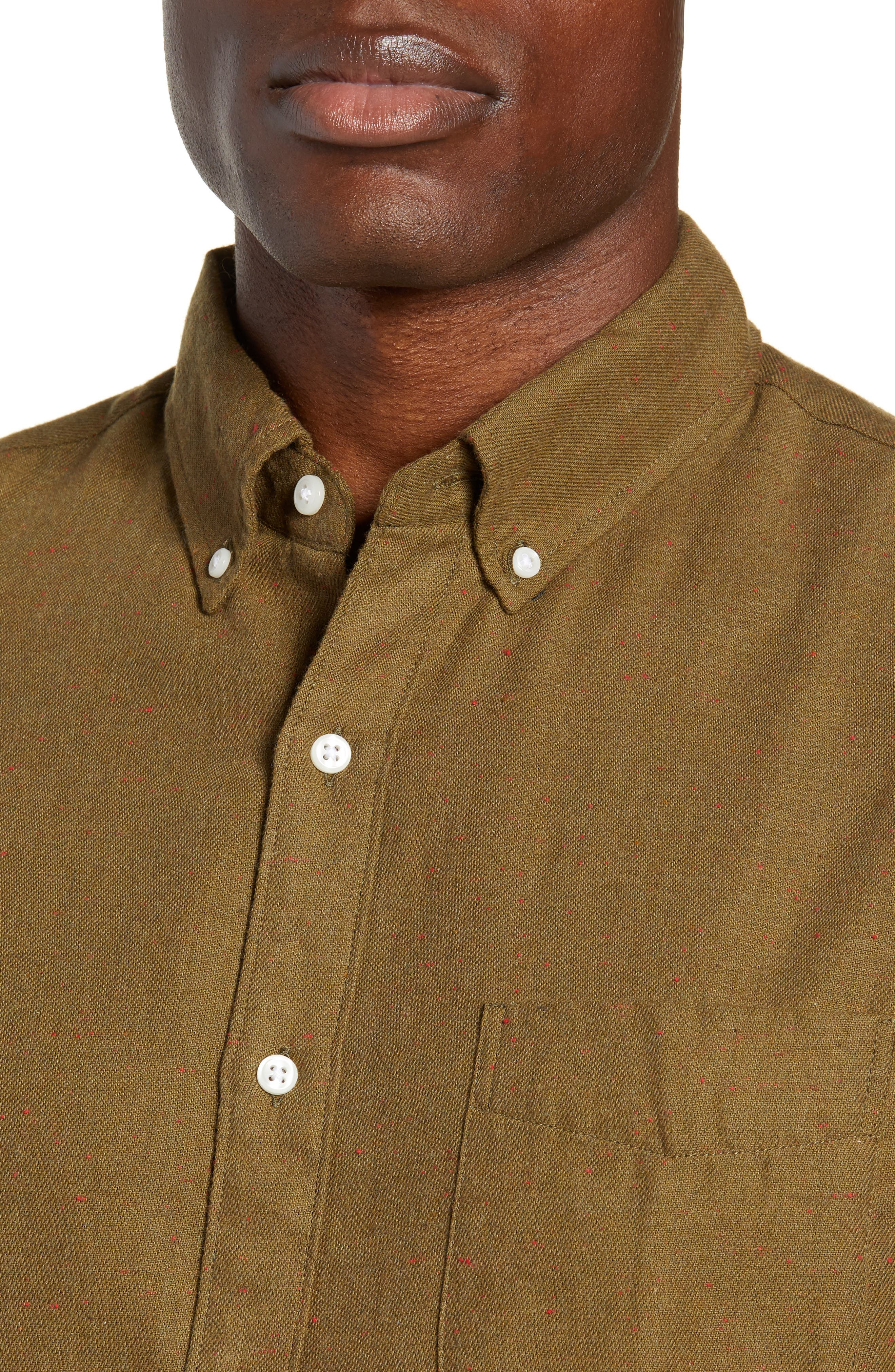 Slim Fit Neppy Twill Sport Shirt,                             Alternate thumbnail 2, color,                             SAFARI FATIGUE HEATHER