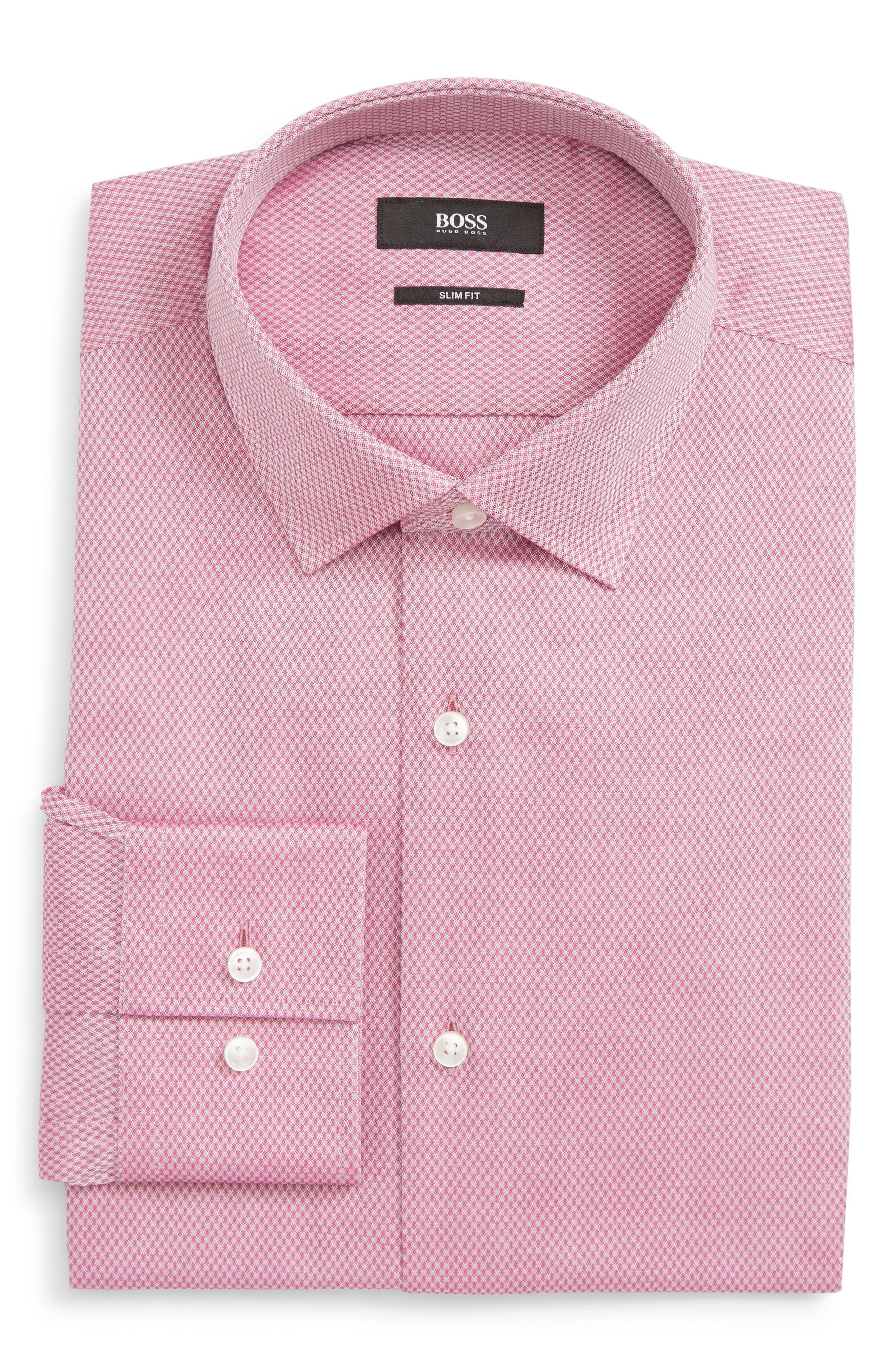 Jenno Slim Fit Solid Dress Shirt,                         Main,                         color, PINK