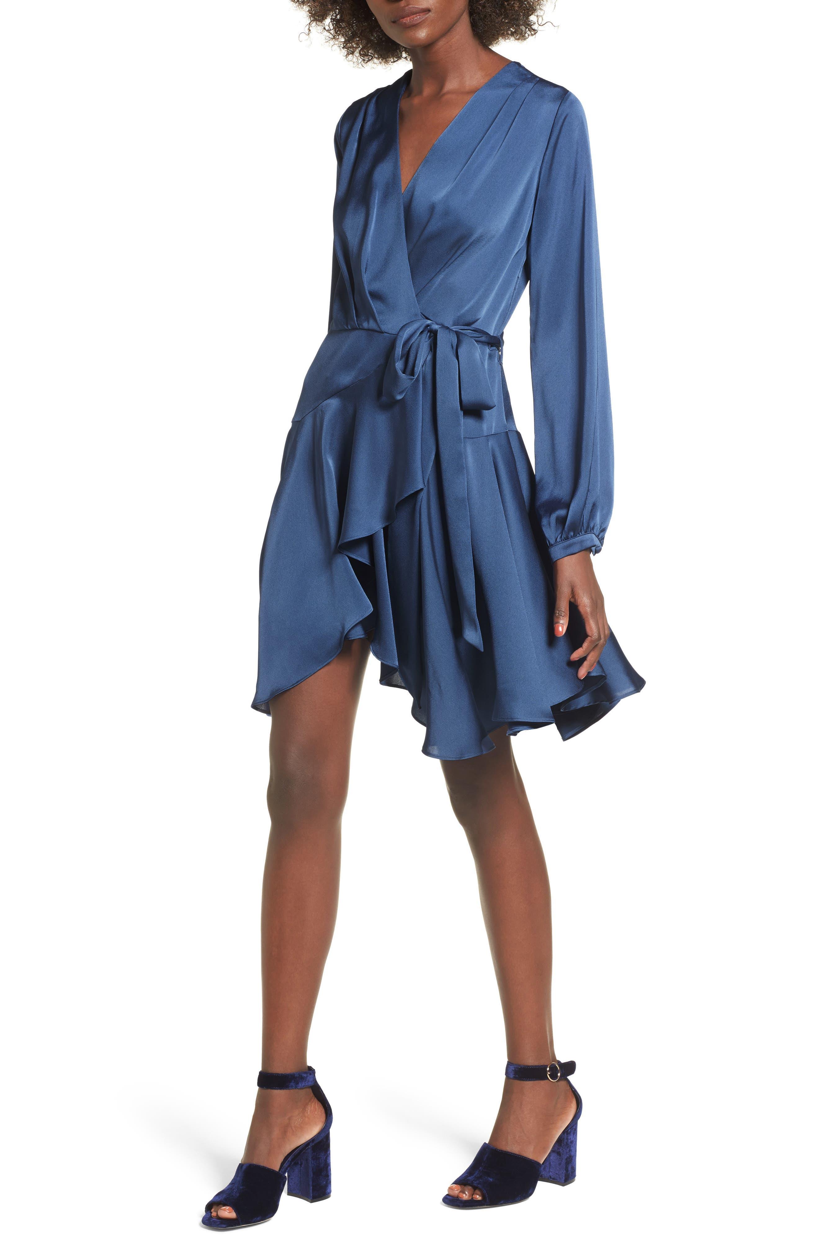 Elsa Satin Ruffle Wrap Minidress,                             Alternate thumbnail 4, color,                             420