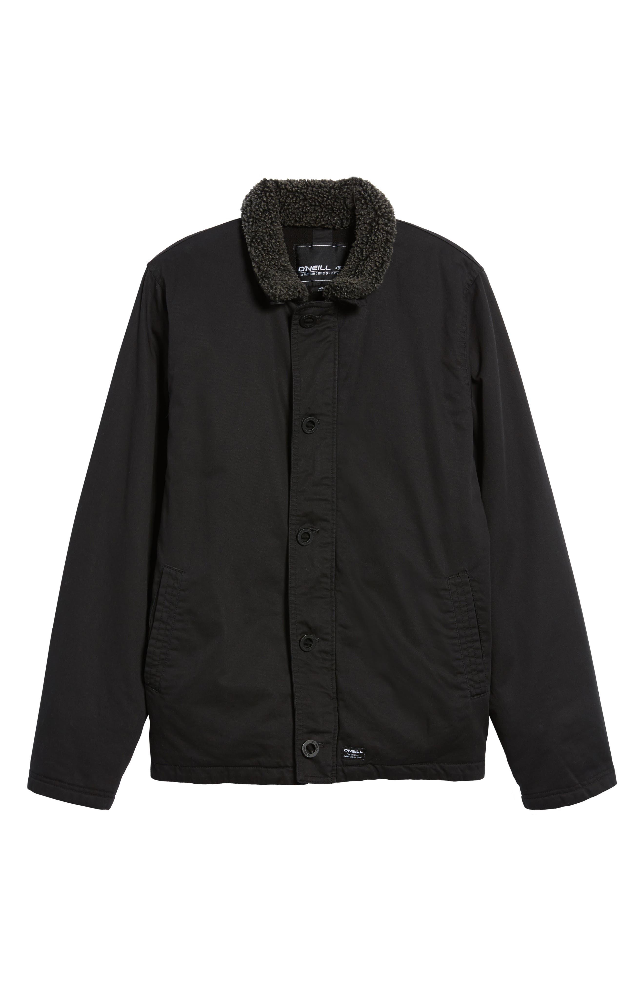 Burnside Faux Shearling Trim Deck Jacket,                             Alternate thumbnail 5, color,                             001