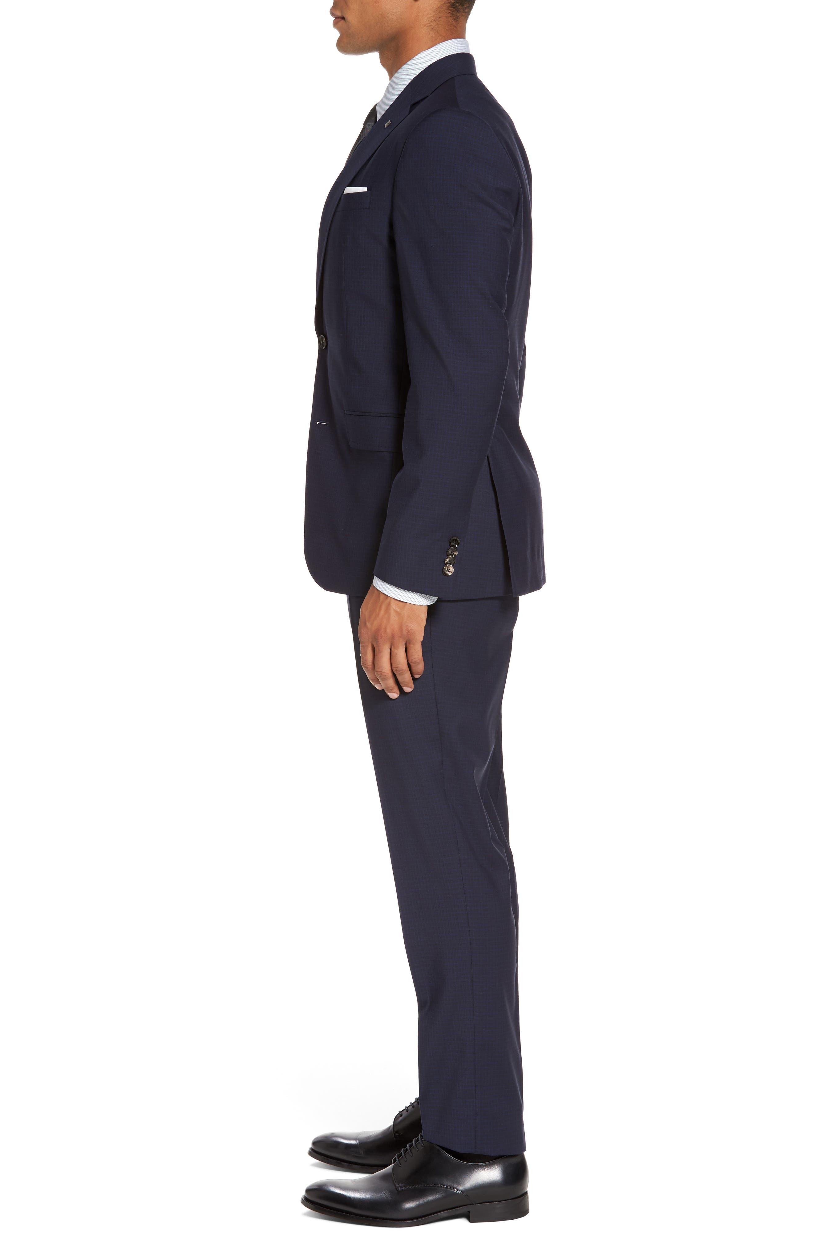 Roger Trim Fit Check Wool Suit,                             Alternate thumbnail 3, color,                             410